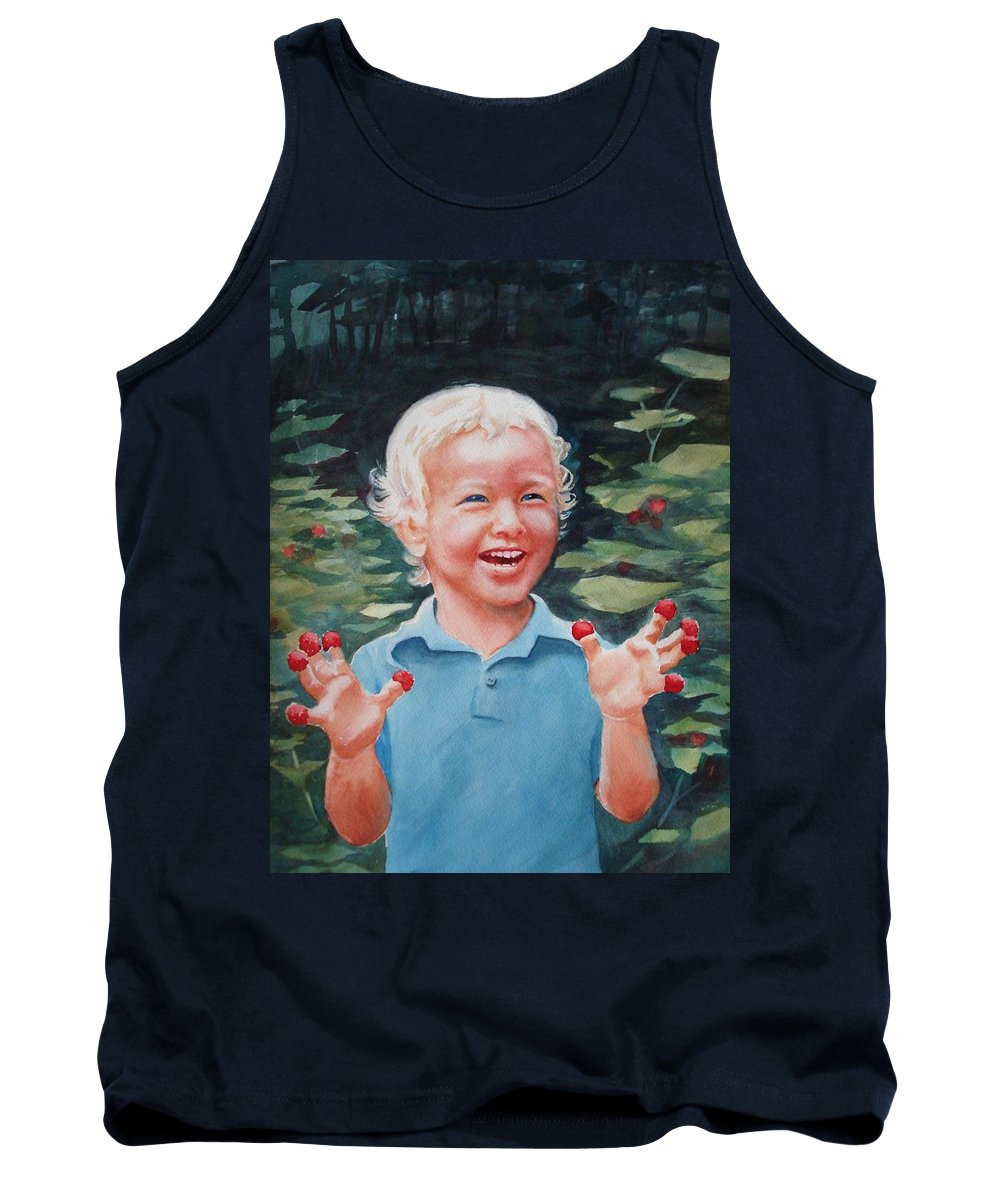 Boy Tank Top featuring the painting Boy With Raspberries by Marilyn Jacobson