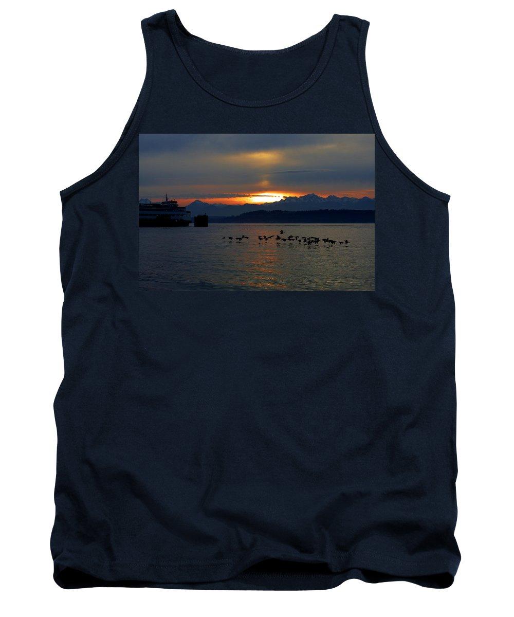 Sunset Tank Top featuring the photograph Brants At Sunset by Karen Ulvestad