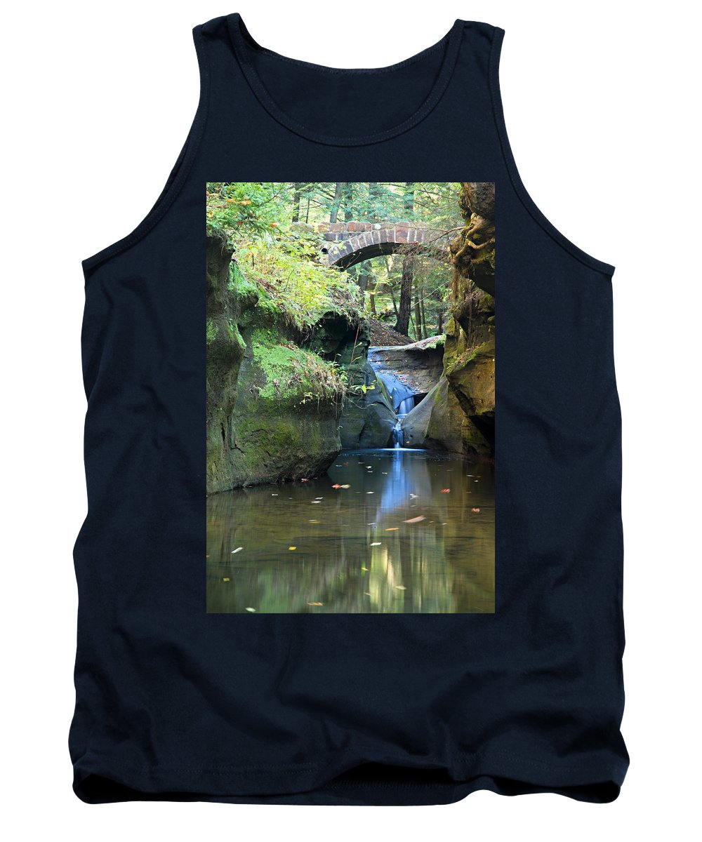 Old Man Cave State Park Tank Top featuring the photograph Bridge Over Waterfall by Larry Ricker