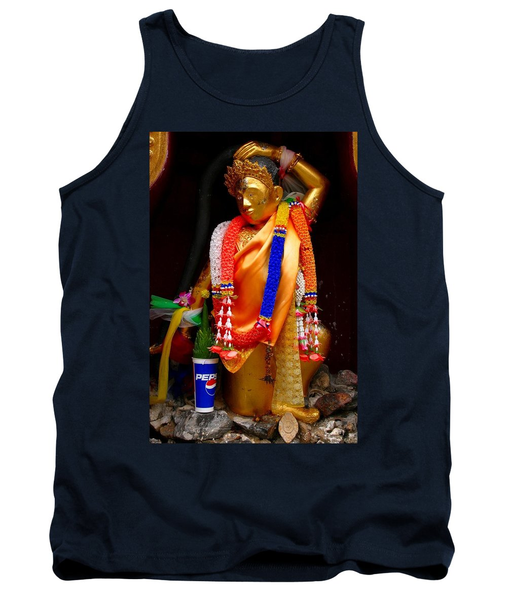 Buddism Tank Top featuring the photograph Buddism And Pepsi Shrine by Minaz Jantz