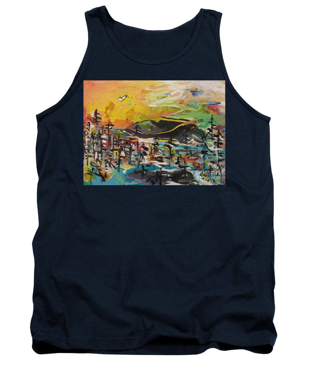 Abstract Paintings Tank Top featuring the painting Bummer Flat2 by Seon-Jeong Kim