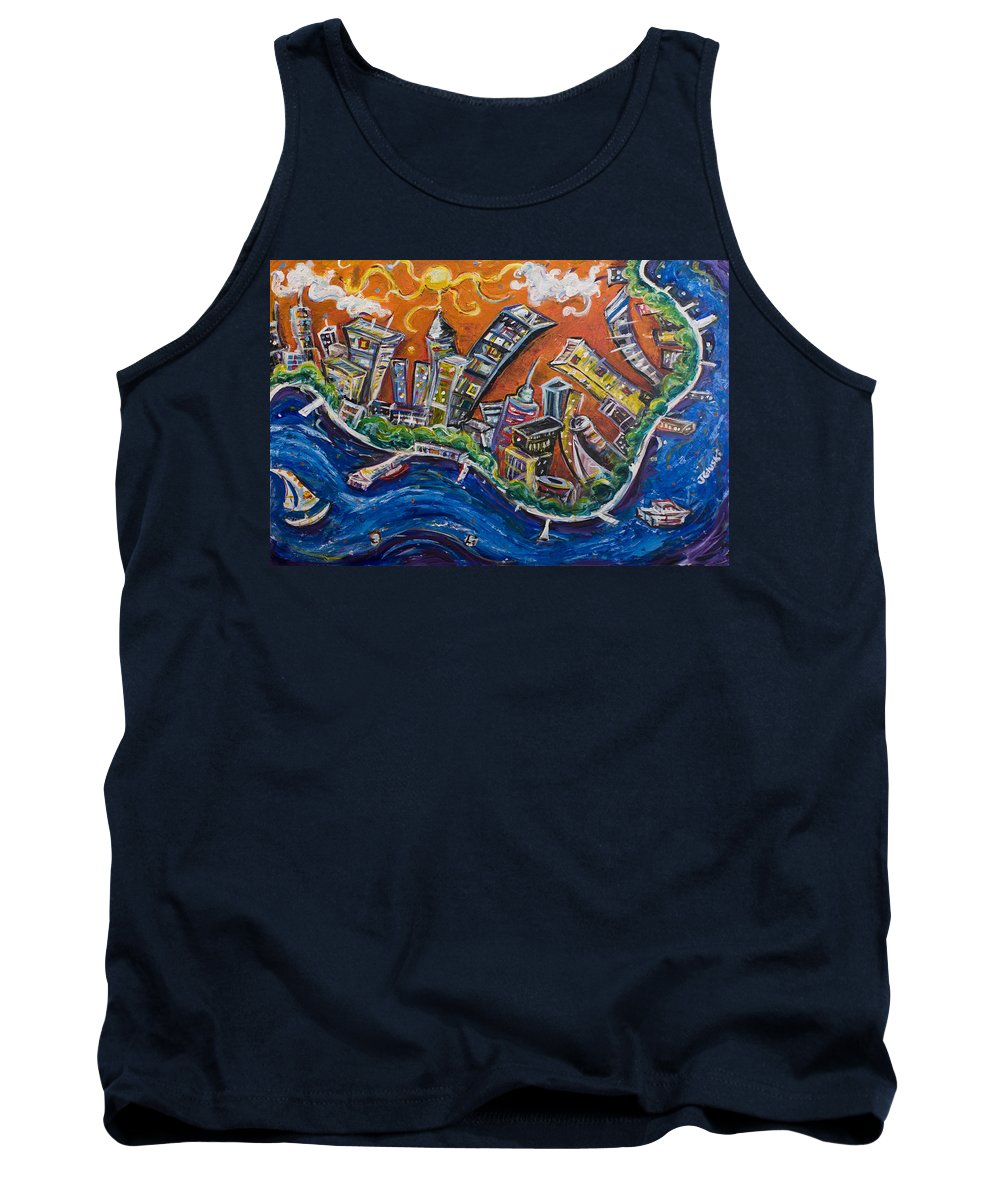 New York City Manhattan Hudson River Tank Top featuring the painting Burning City by Jason Gluskin