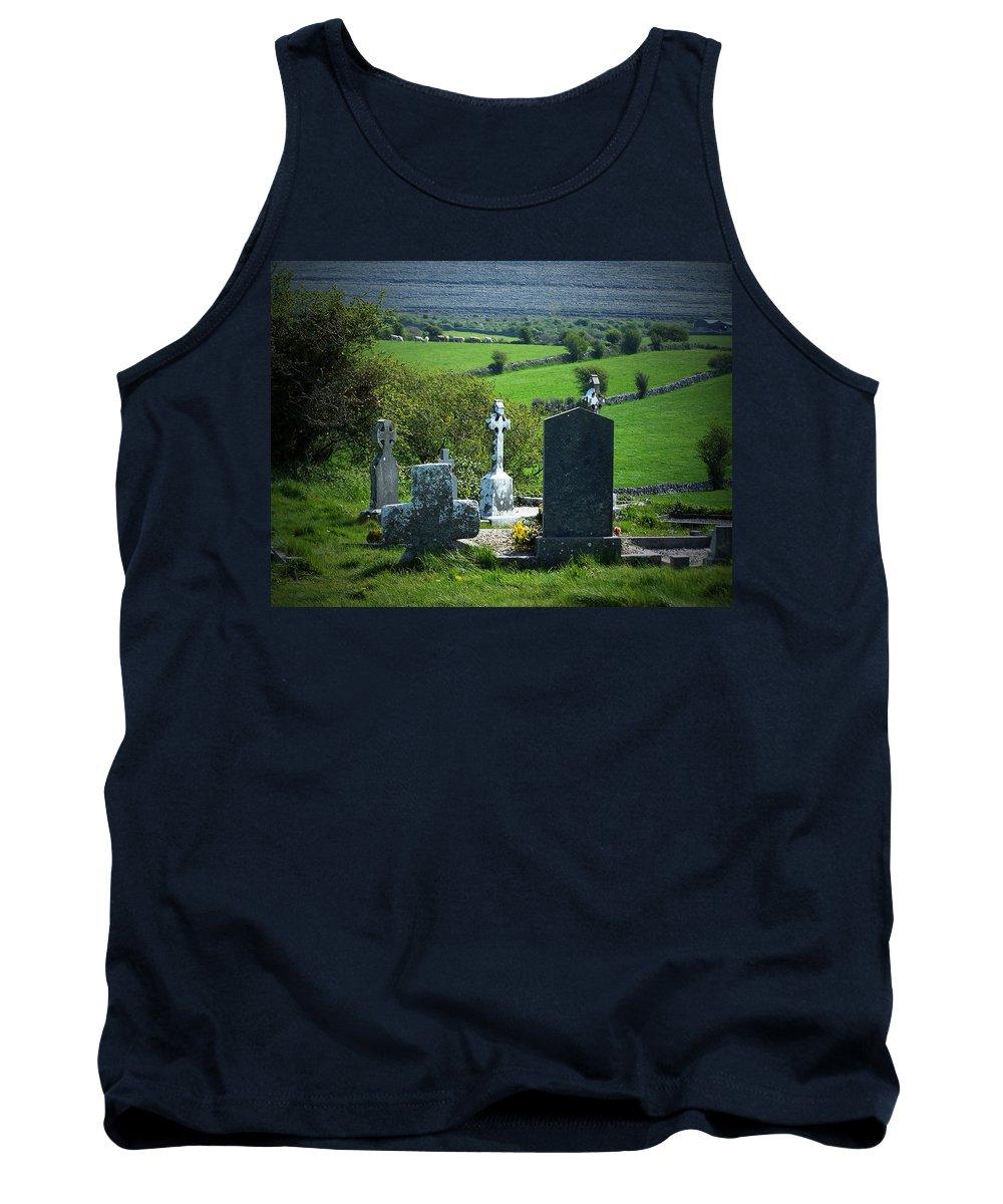 Irish Tank Top featuring the photograph Burren Crosses County Clare Ireland by Teresa Mucha