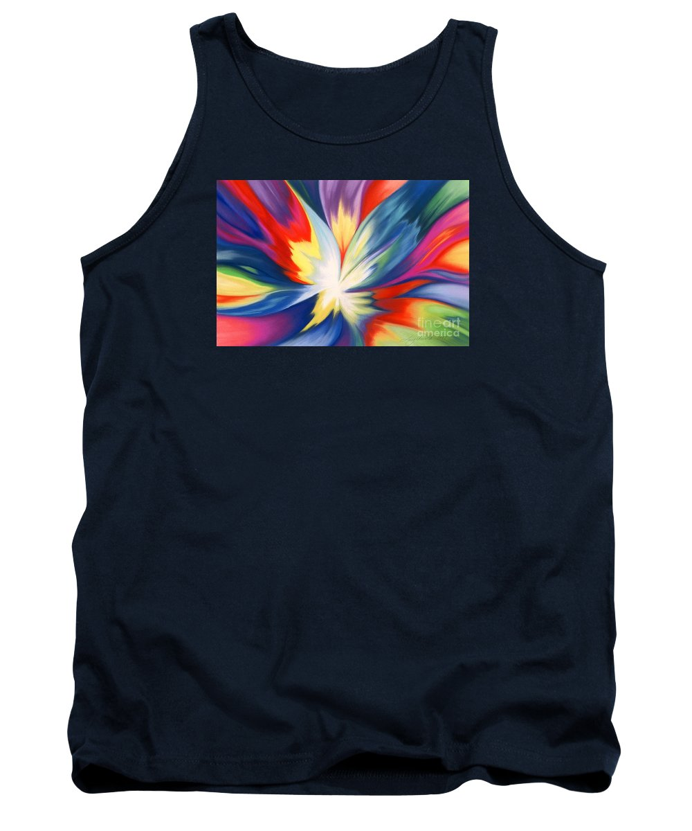 Abstract Tank Top featuring the painting Burst Of Joy by Lucy Arnold