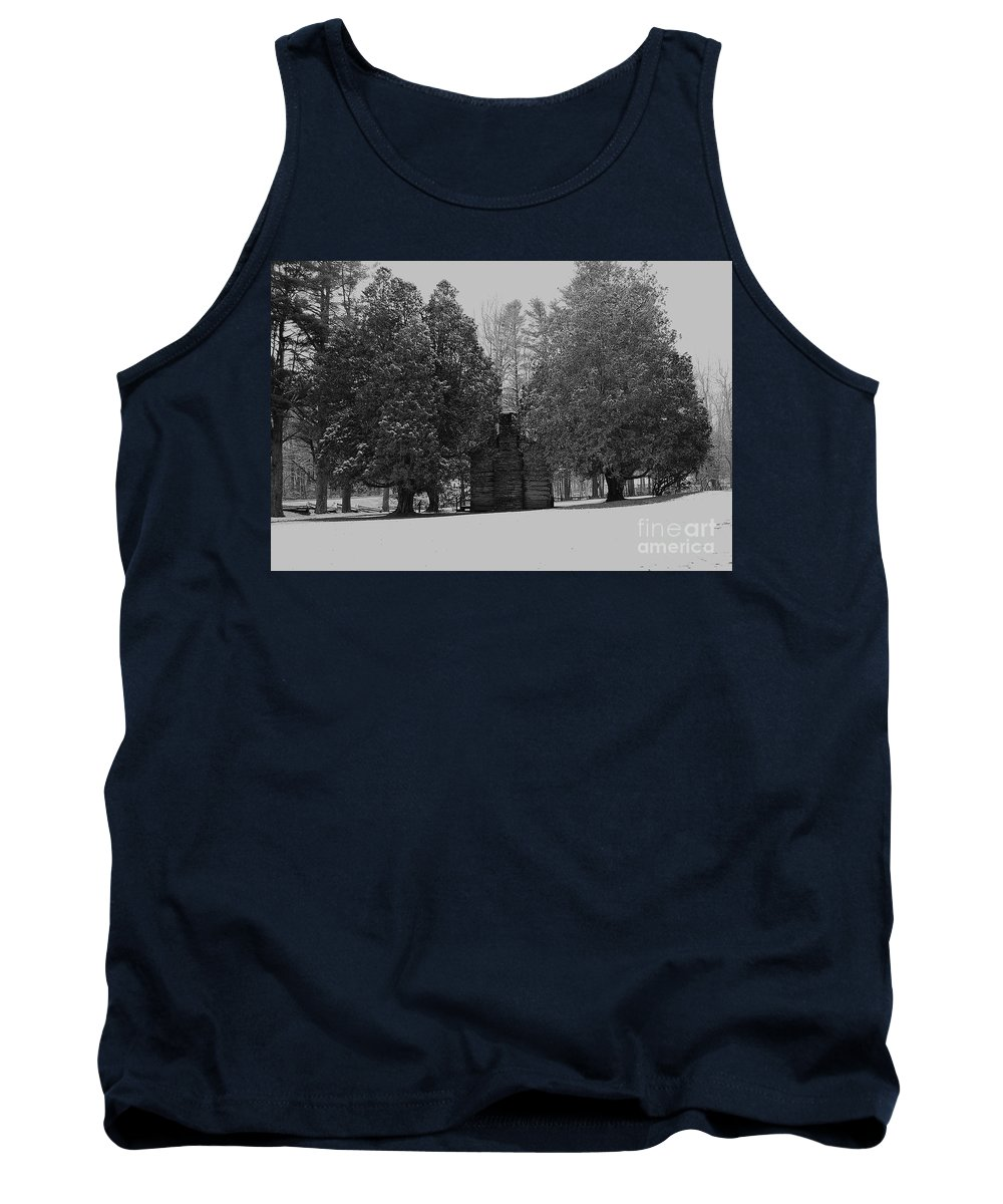 Snow Tank Top featuring the photograph Cabin Between The Cedars by Eric Liller