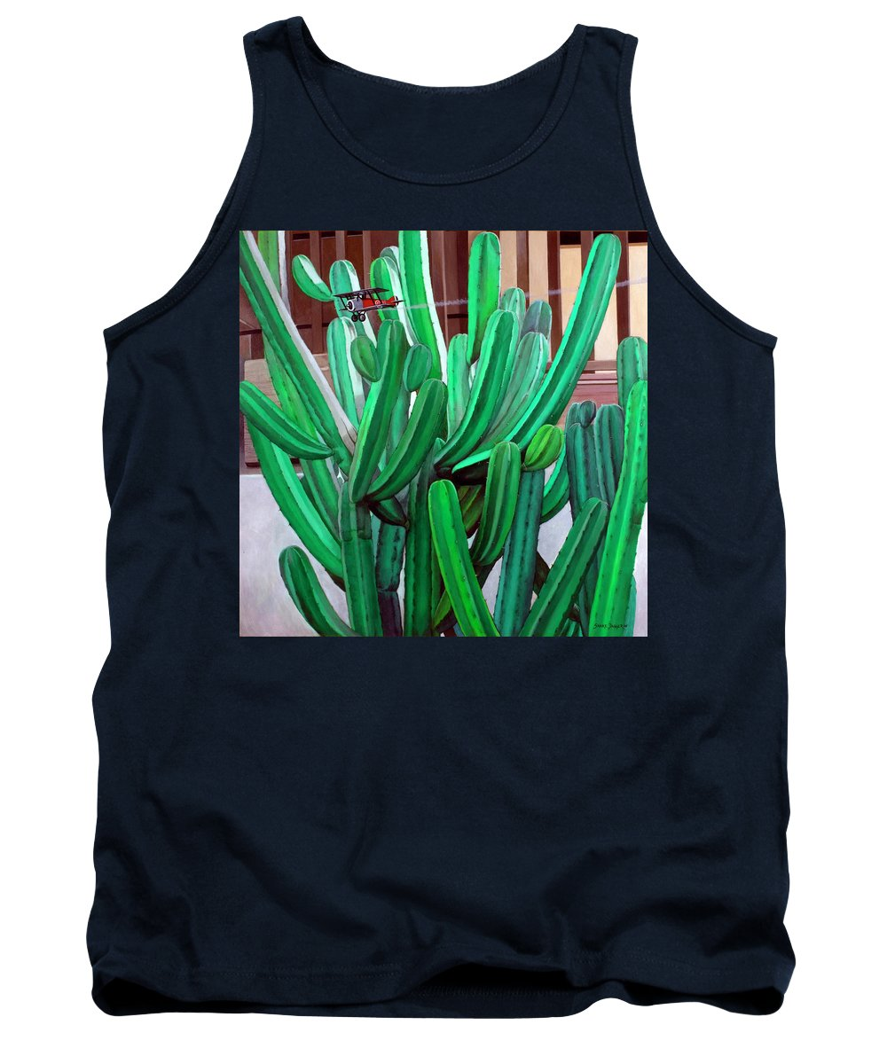 Landscape Tank Top featuring the painting Cactus Fly By by Snake Jagger