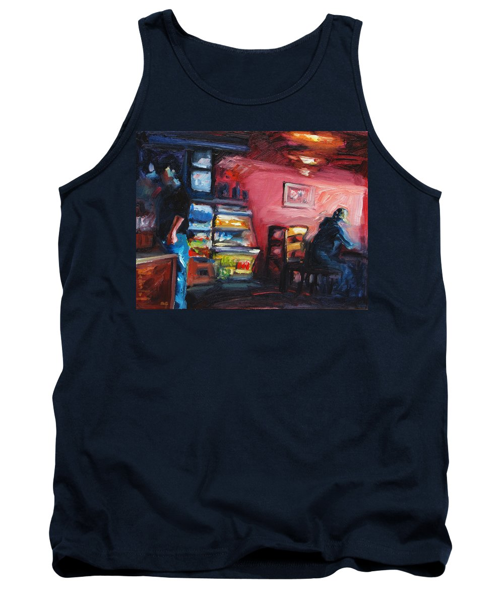 Cafe Tank Top featuring the painting Cafe Boulange by Rick Nederlof