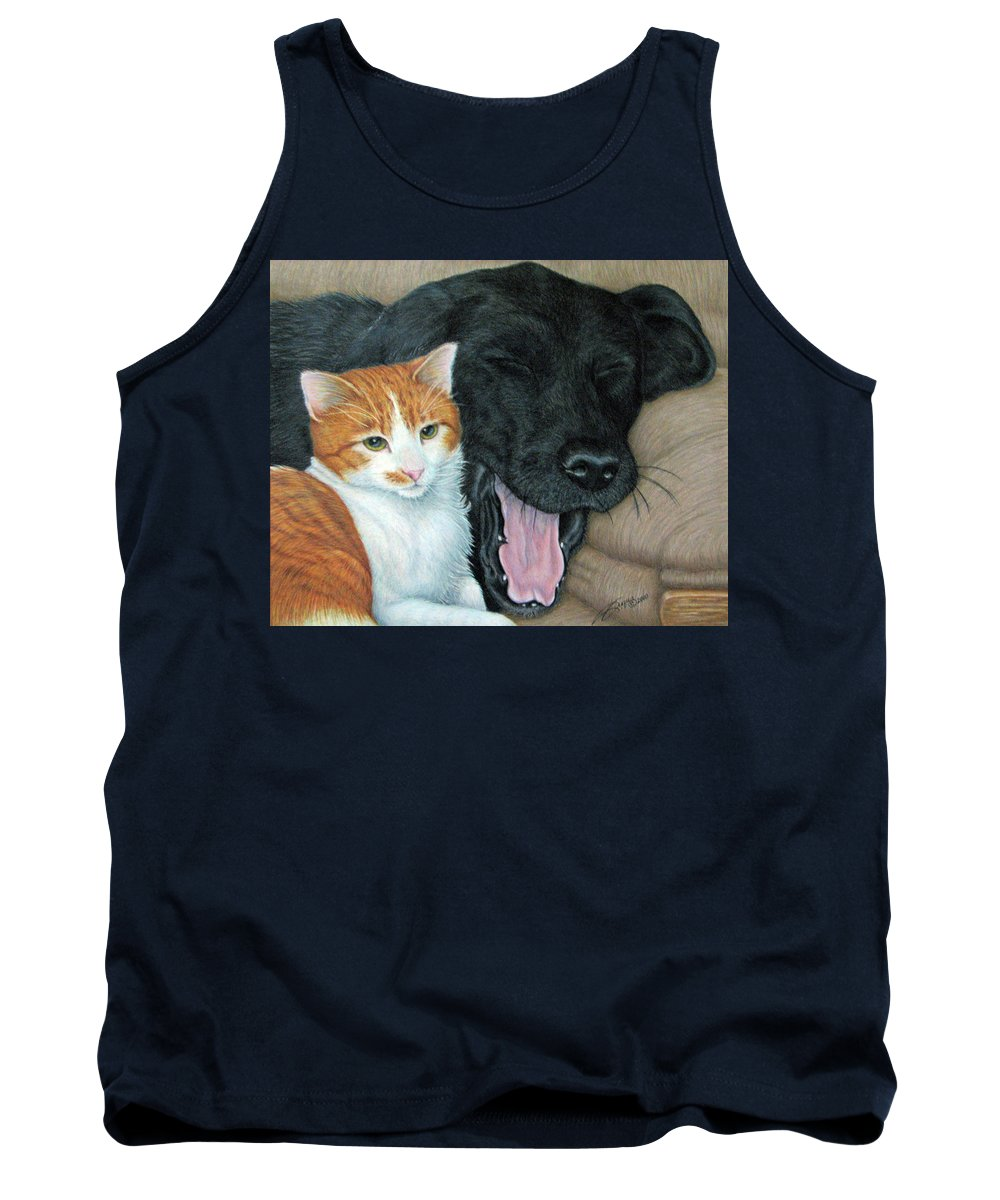 Dog Tank Top featuring the painting Can We Watch Something Other Than Big Cat Diary by Beverly Fuqua
