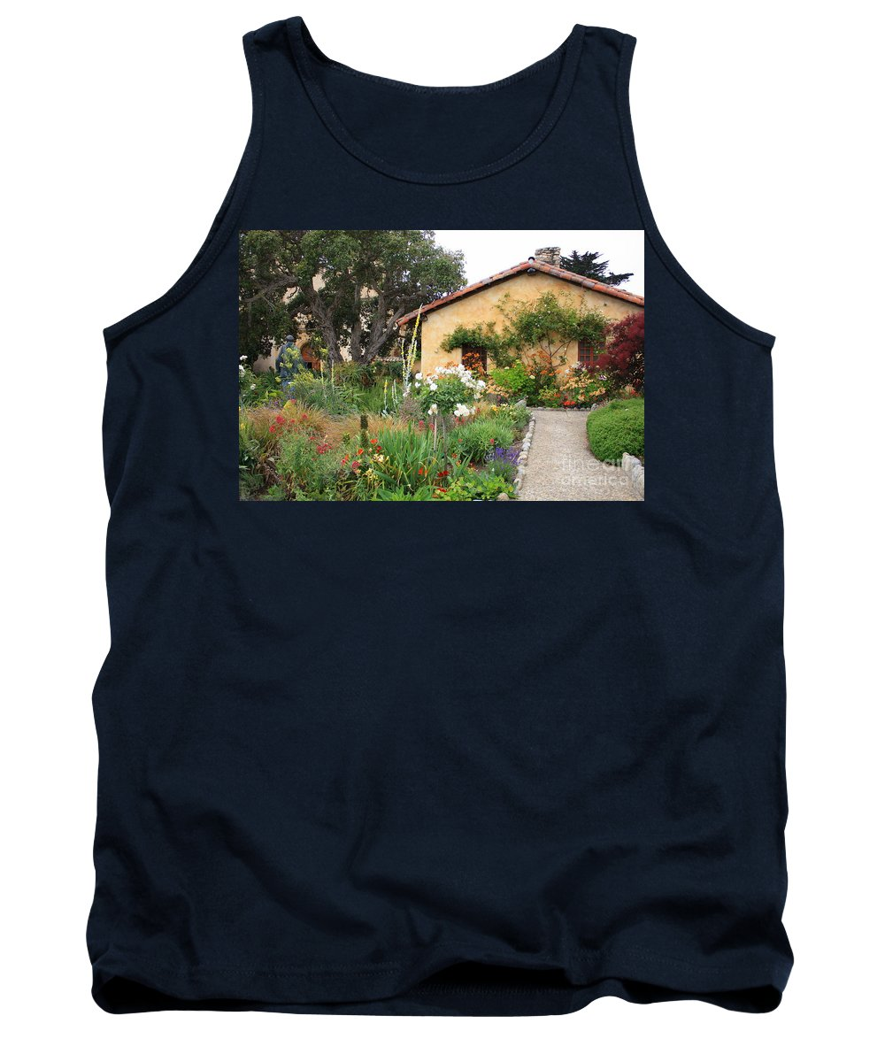 Carmel Tank Top featuring the photograph Carmel Mission With Path by Carol Groenen