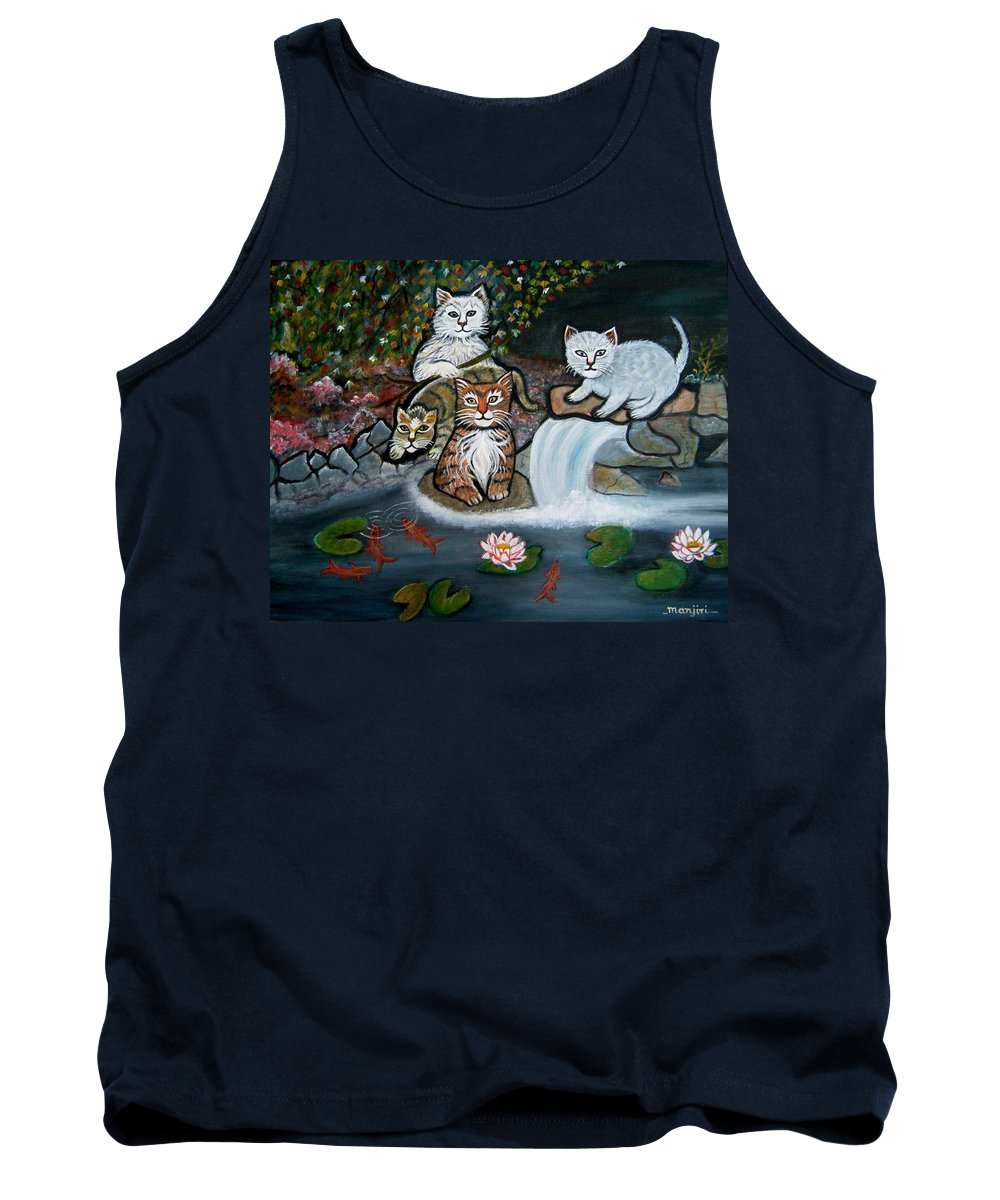 Acrylic Art Landscape Cats Animals Figurative Waterfall Fish Trees Tank Top featuring the painting Cats In The Wild by Manjiri Kanvinde