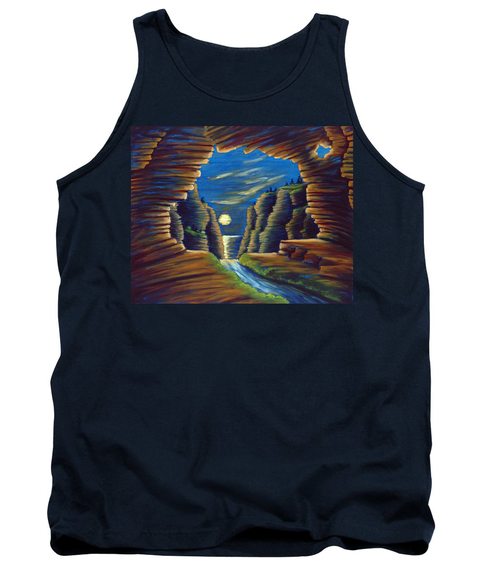 Cave Tank Top featuring the painting Cave With Cliffs by Jennifer McDuffie