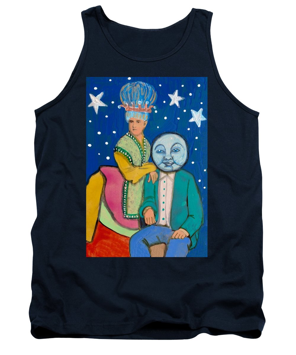 Moon Tank Top featuring the painting Celestial Couple by JoLynn Potocki