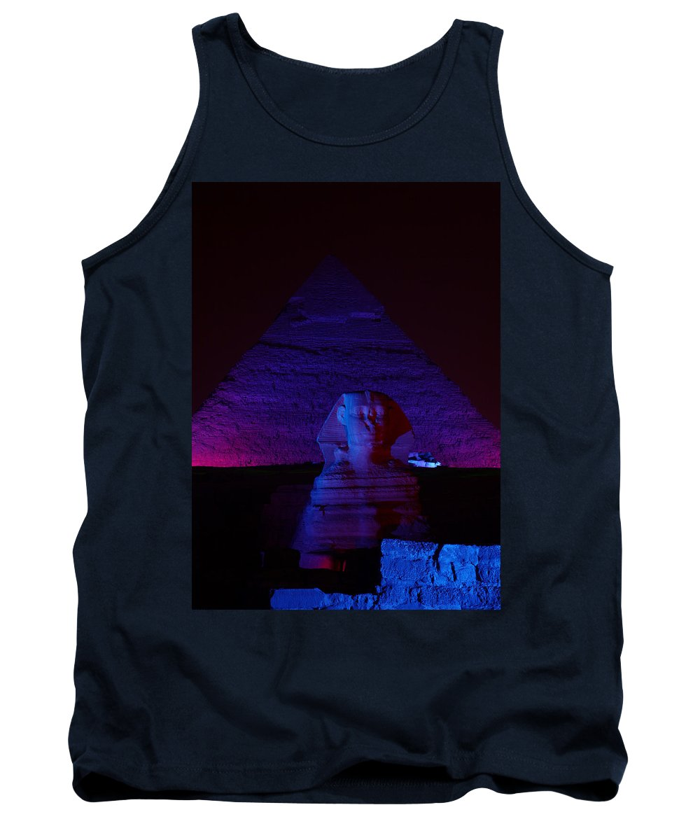 Pyramid Tank Top featuring the photograph Cheops In Blue by Donna Corless