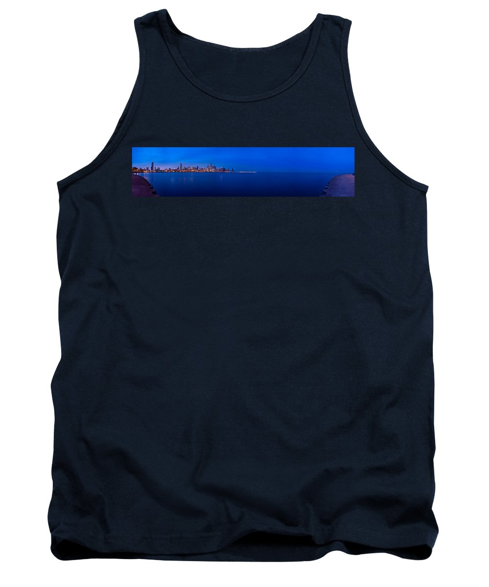 Architecture Tank Top featuring the photograph Chicago Lakefront Ultra Wide Hd by Steve Gadomski