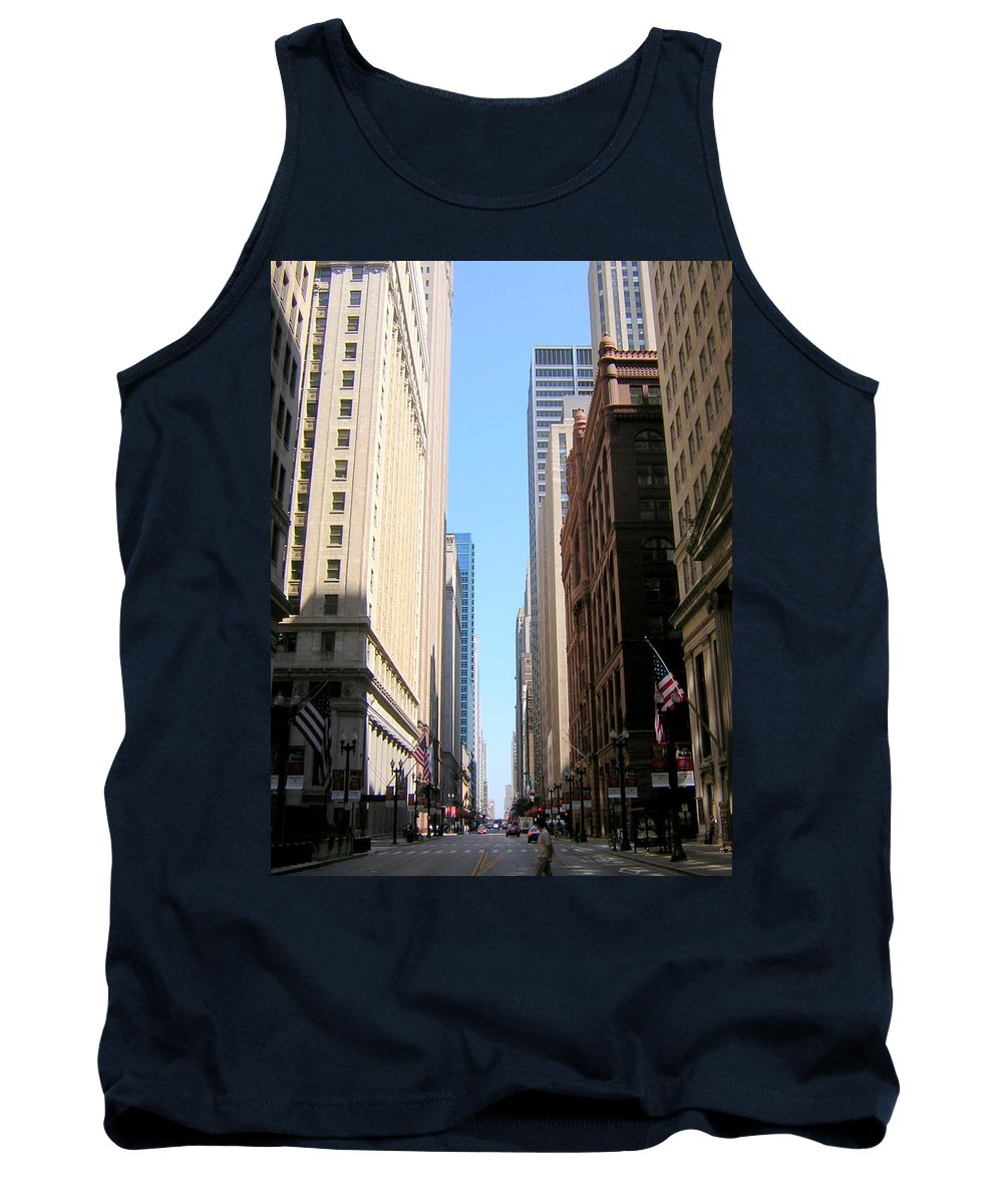 Chicago Tank Top featuring the photograph Chicago Street With Flags by Anita Burgermeister