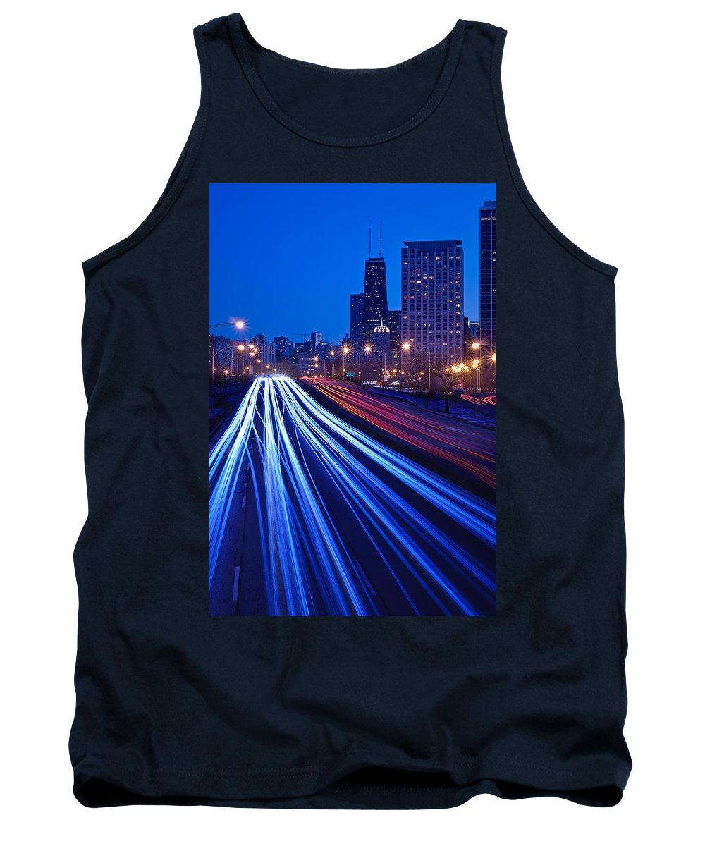Blue Tank Top featuring the photograph Chicagos Lake Shore Drive by Steve Gadomski