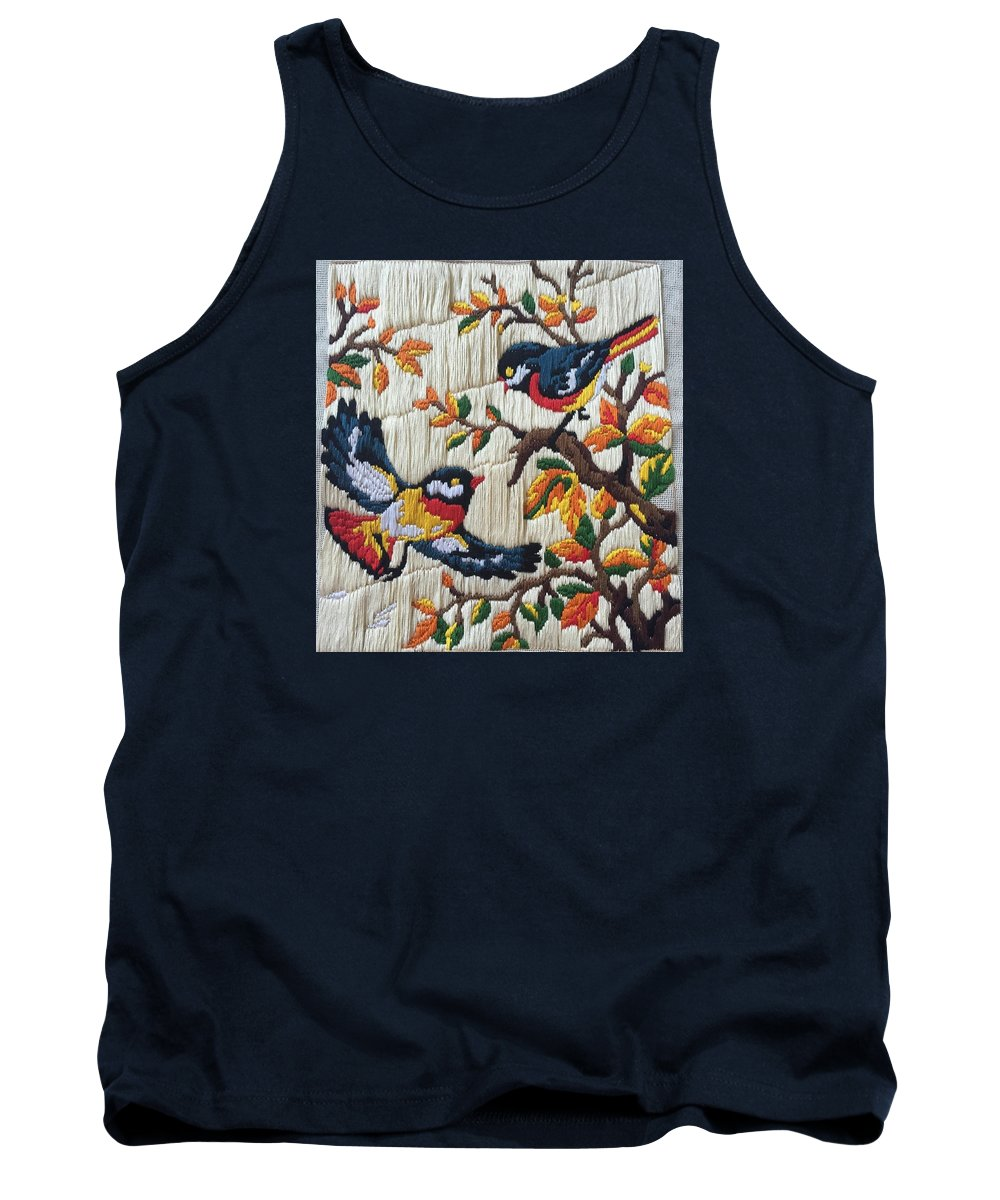 Birds Tank Top featuring the tapestry - textile Chirping Birds by Garima Jain