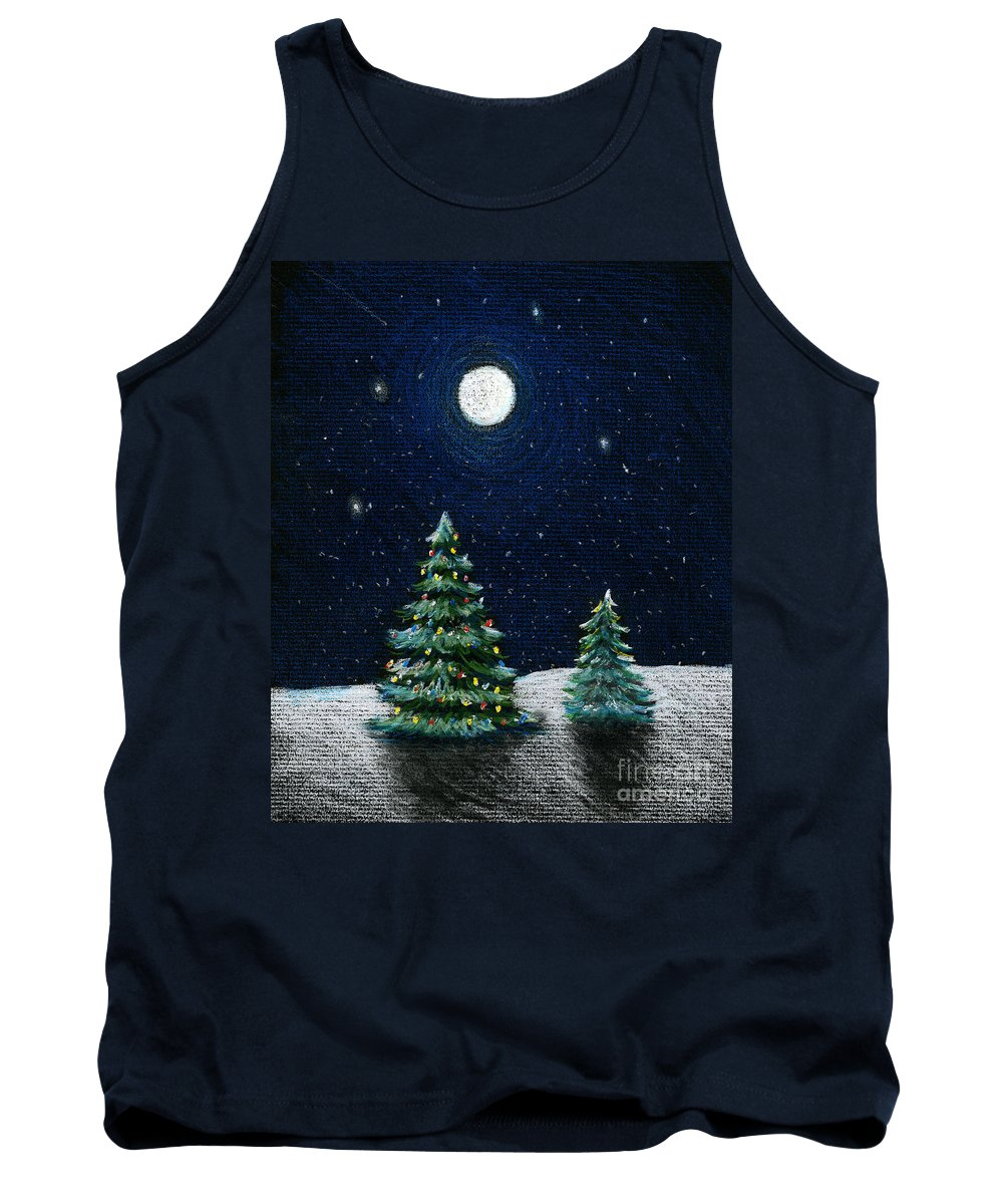 Christmas Trees Tank Top featuring the drawing Christmas Trees In The Moonlight by Nancy Mueller
