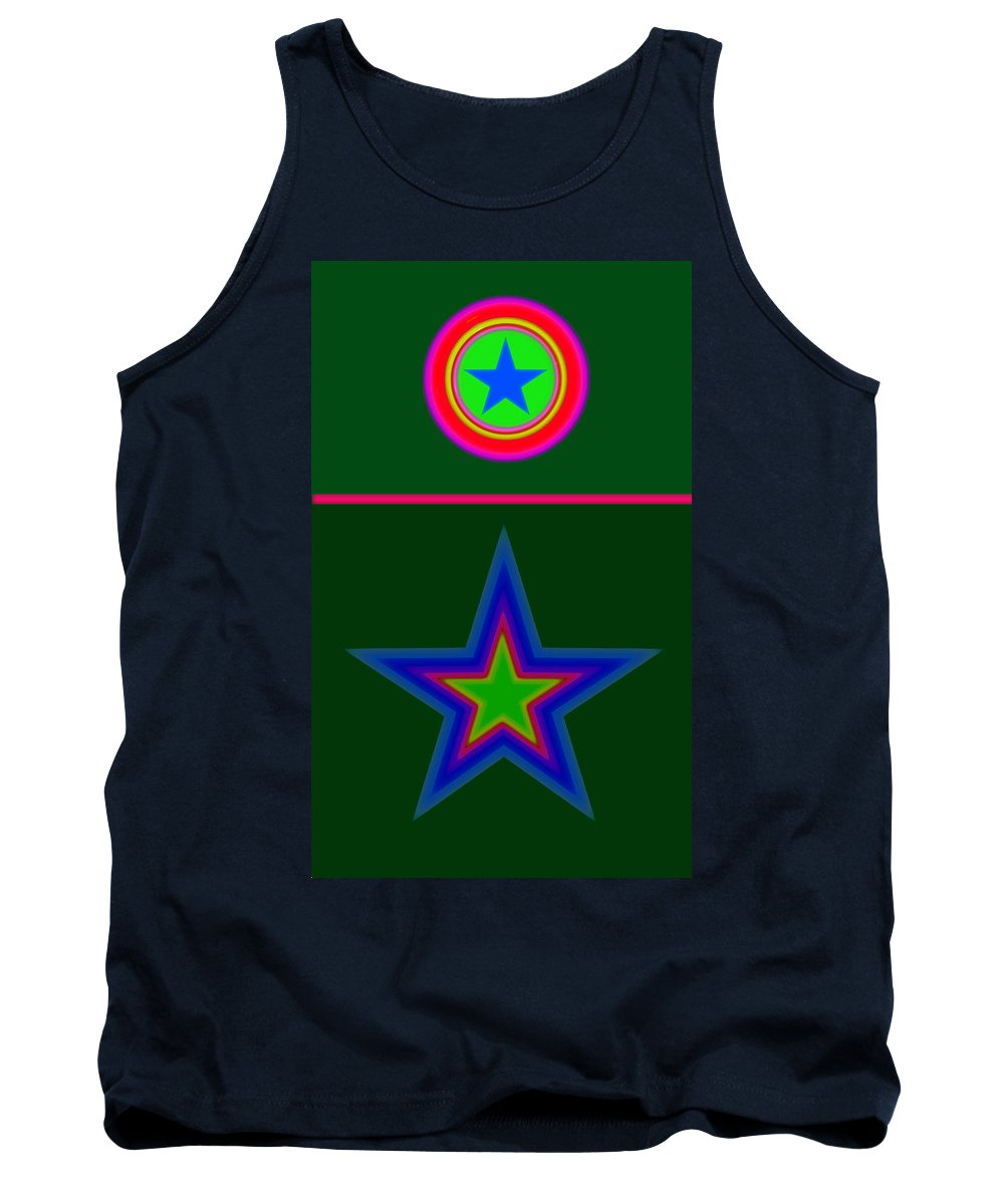Circus Tank Top featuring the digital art Circus Green by Charles Stuart