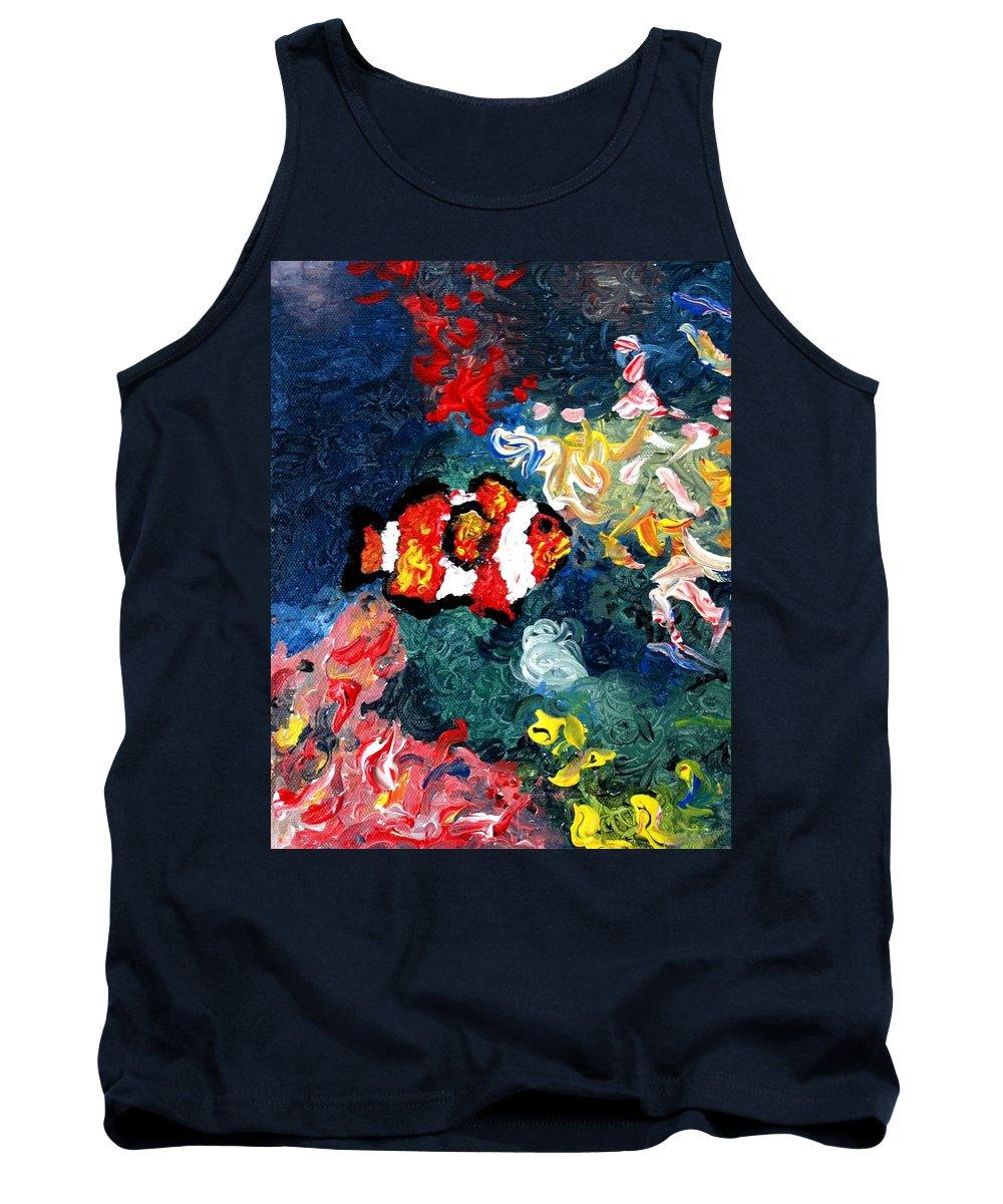 Fish Tank Top featuring the painting Clownfish by Luiza Vizoli