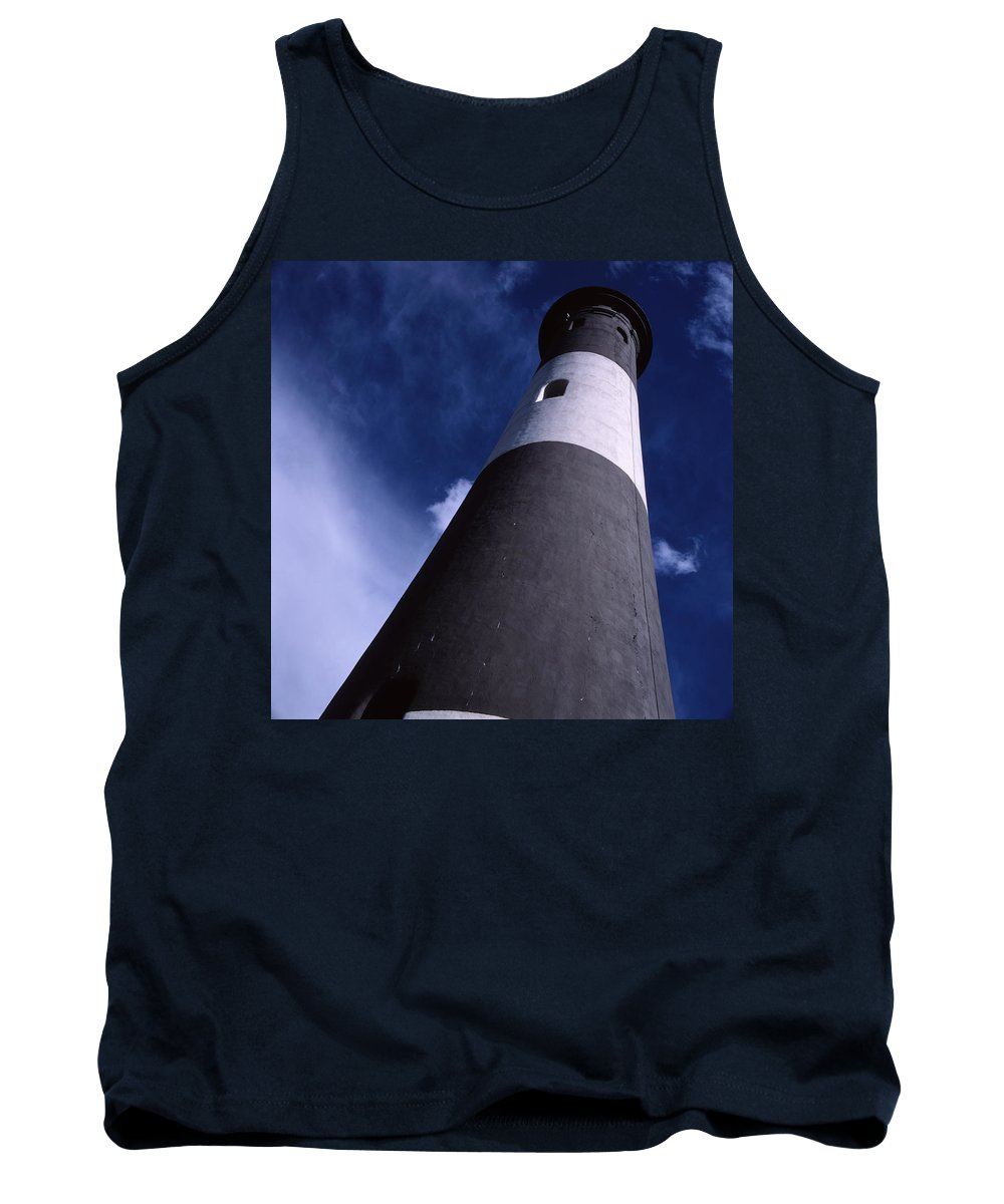 Landscape Lighthouse Fire Island Tank Top featuring the photograph Cnrf0701 by Henry Butz