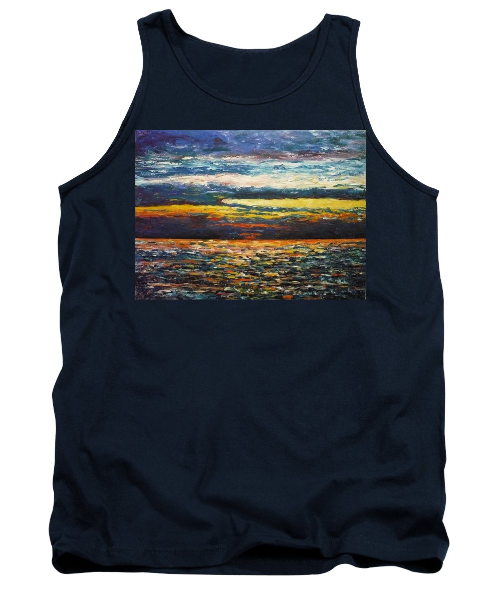 Landscape Tank Top featuring the painting Cold Sunset by Ericka Herazo