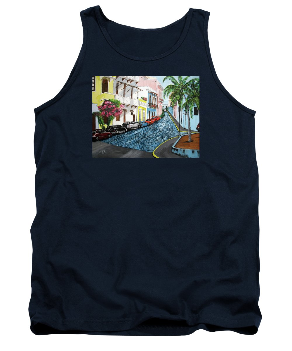 Old San Juan Tank Top featuring the painting Colorful Old San Juan by Luis F Rodriguez