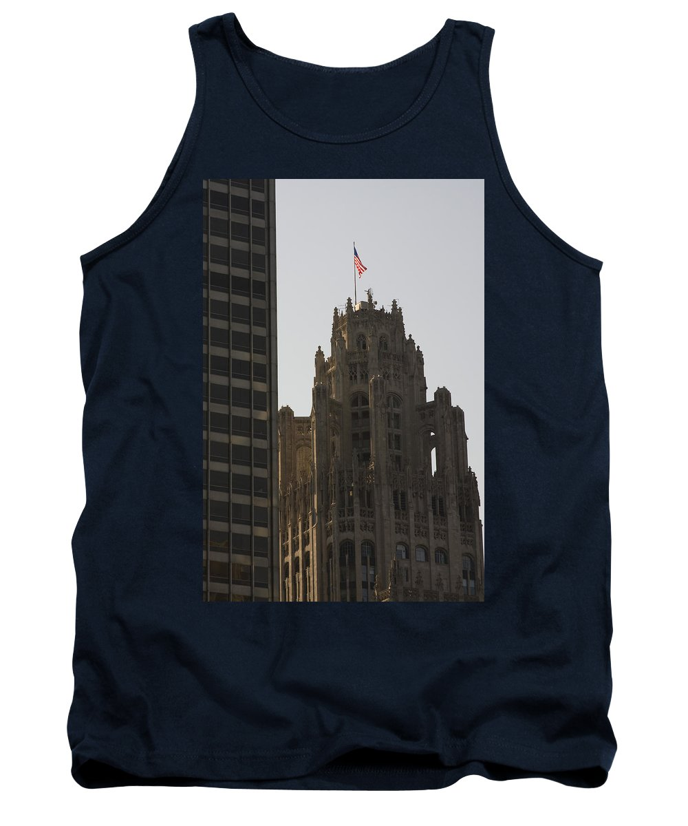 Chicago Windy City Tall Building High Big Skyscraper Metro Urban Tank Top featuring the photograph Contrast by Andrei Shliakhau