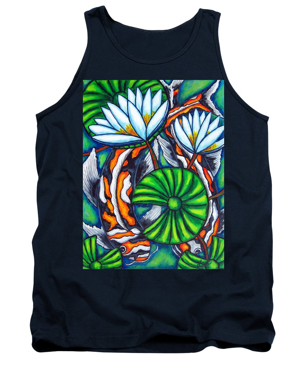 Koi Tank Top featuring the painting Coy Carp by Lisa Lorenz