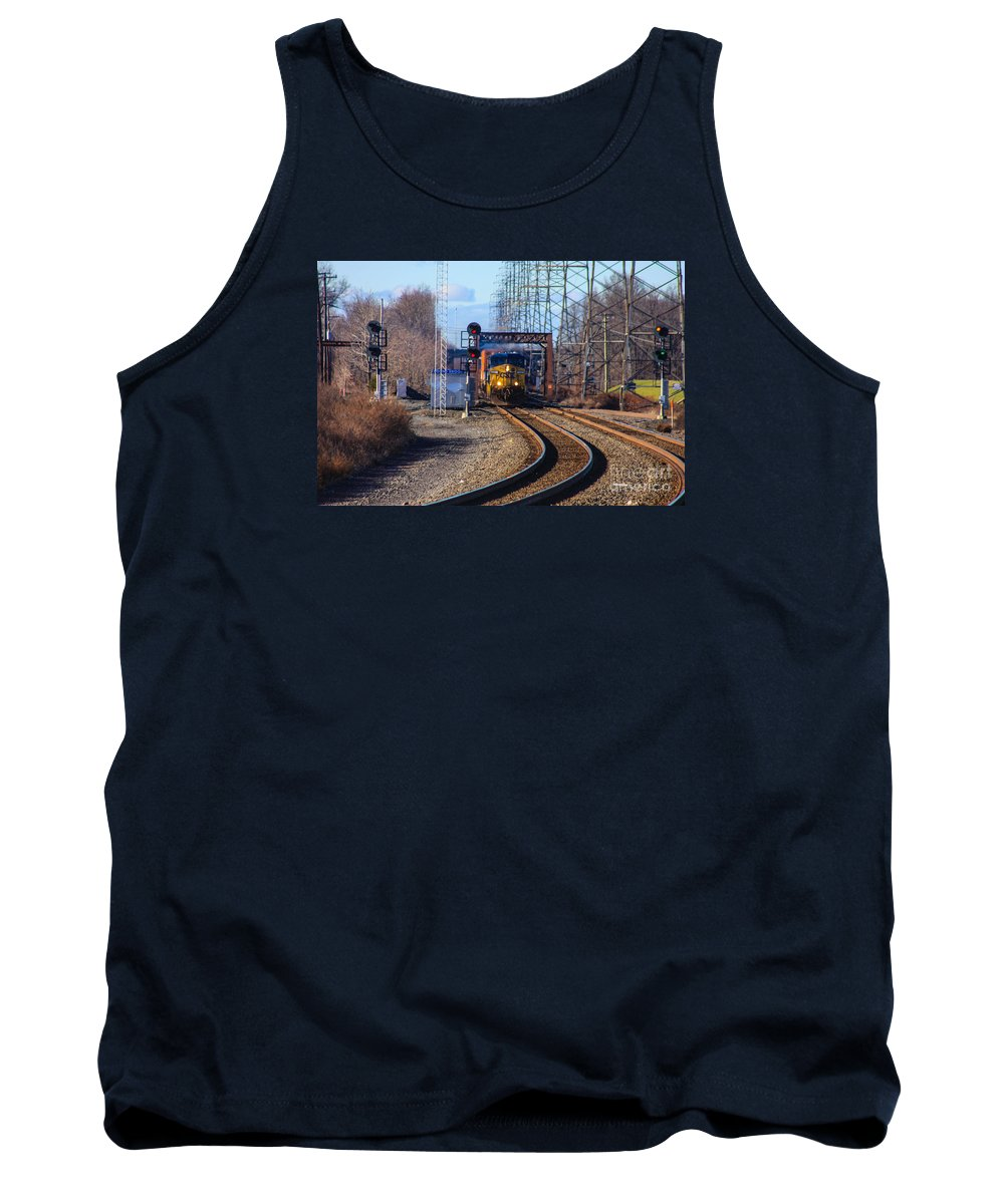 This Is A Photo Of A Csx Engine Coming Into The Bound Brook Station In New Jersey. Tank Top featuring the photograph Csx Coming Towards Bound Brook Station by William Rogers
