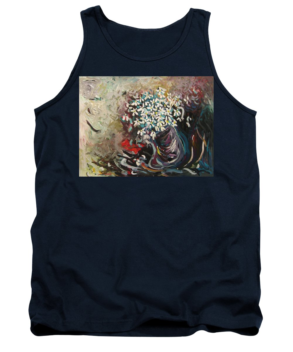 Daisy Paintings Tank Top featuring the painting Daisy In Vase3 by Seon-Jeong Kim