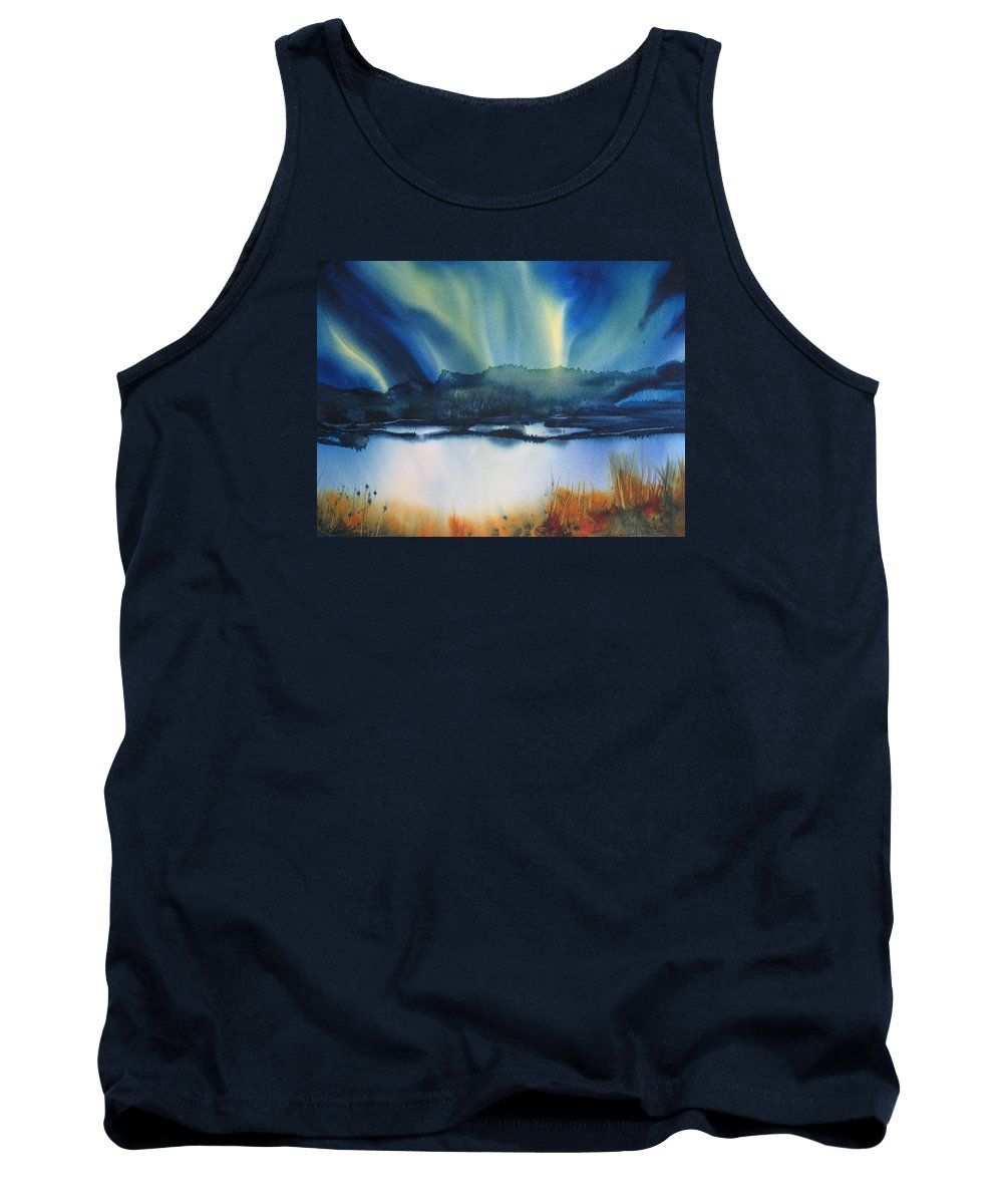 Northern Lights Tank Top featuring the painting Dance Of Aurora Borealis by Madelaine Alter
