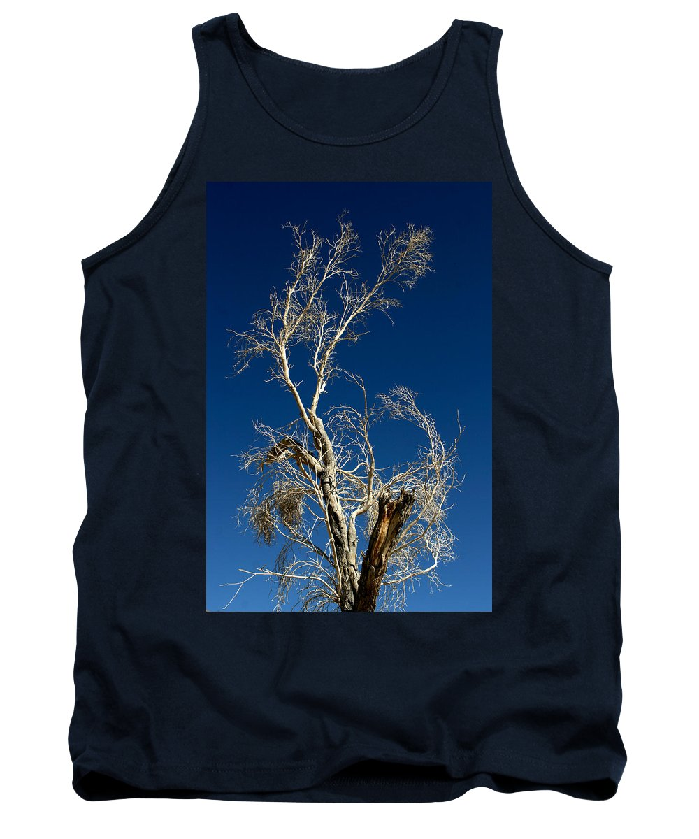 Tree Tank Top featuring the photograph Deep Blue White Tree by Chris Brannen