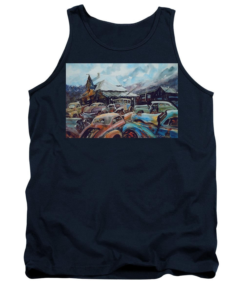 Cars Tank Top featuring the painting Derelicts at Hillsboro by Ron Morrison