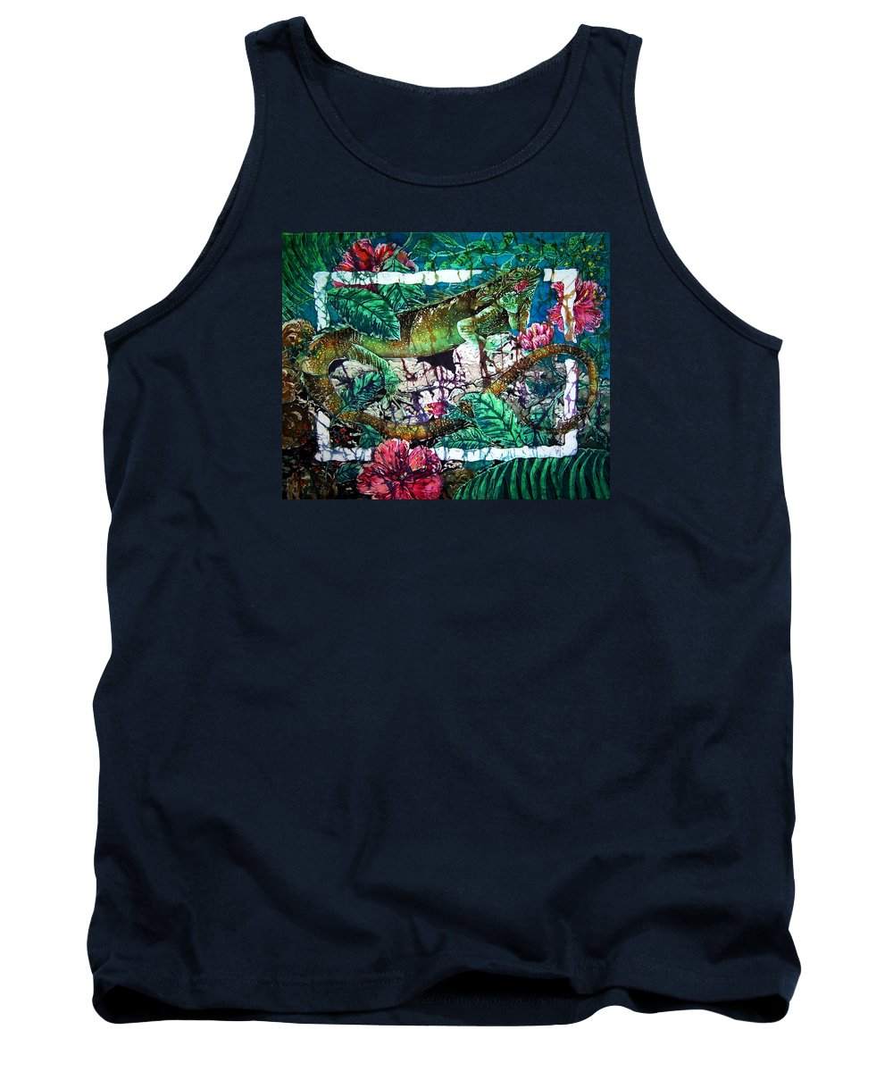 Iguana Tank Top featuring the painting Dining At The Hibiscus Cafe - Iguana by Sue Duda