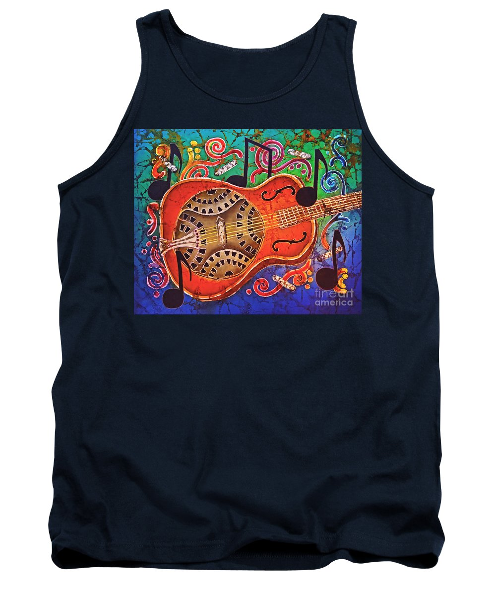 Dobro Tank Top featuring the tapestry - textile Dobro - Slide Guitar by Sue Duda