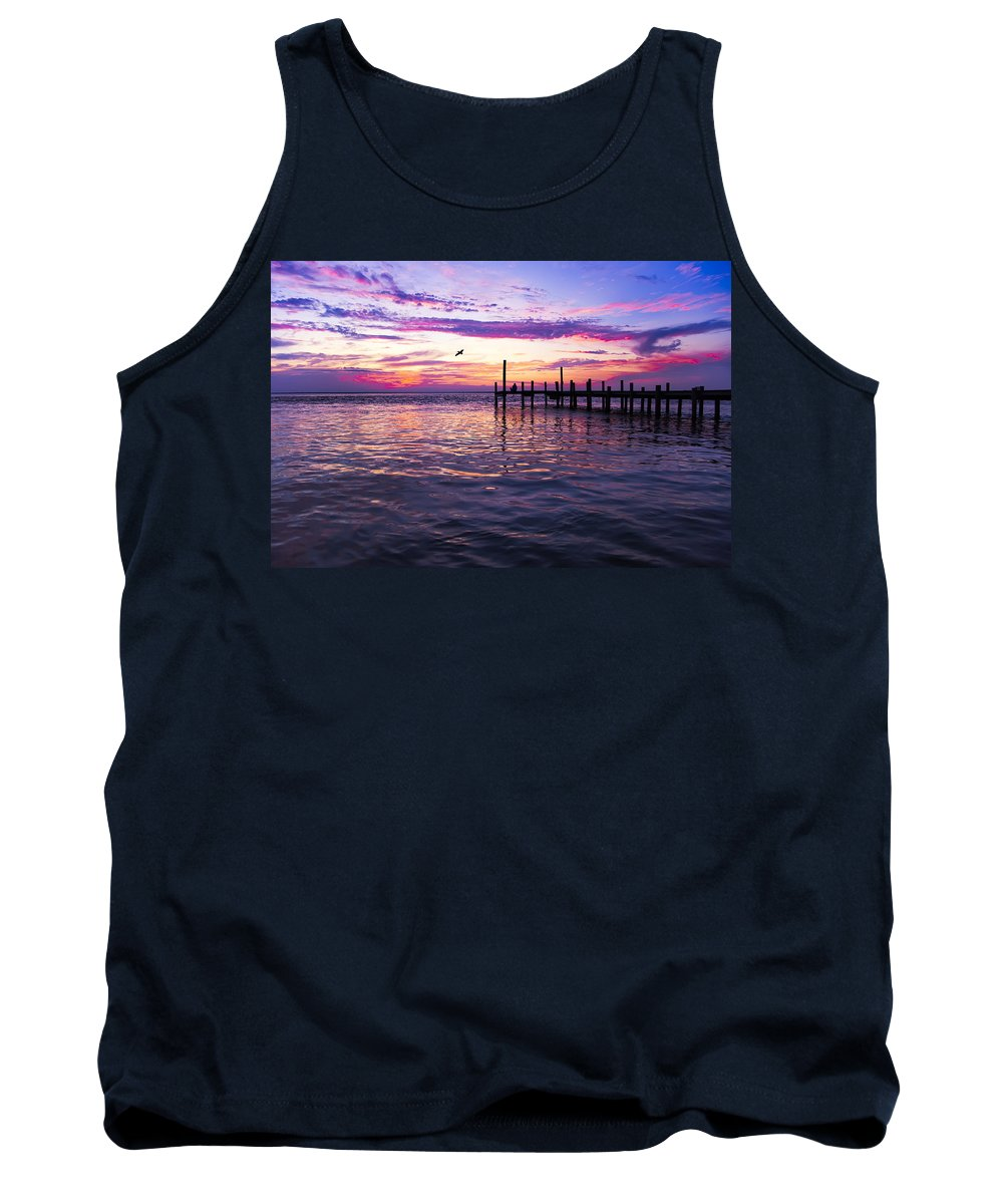 Dock Tank Top featuring the photograph Dockside Sunset by Janet Fikar