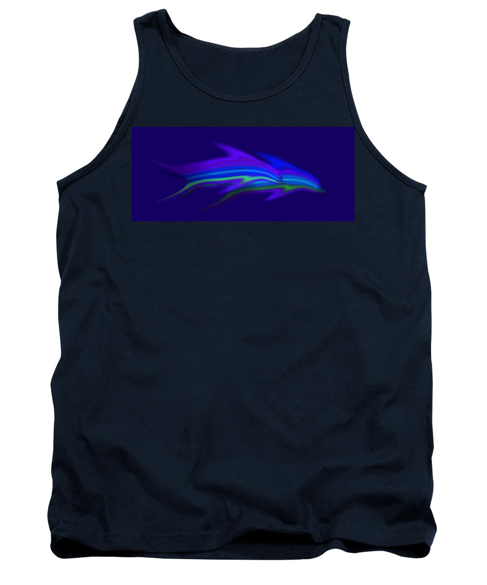 Blue Dolphin Tank Top featuring the painting Dolphin Blue by Charles Stuart