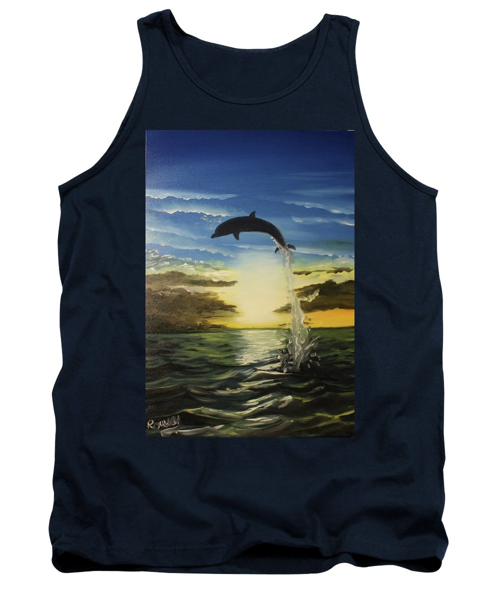 Dolphin Tank Top featuring the painting Dolphin Jump by Roman Zaric