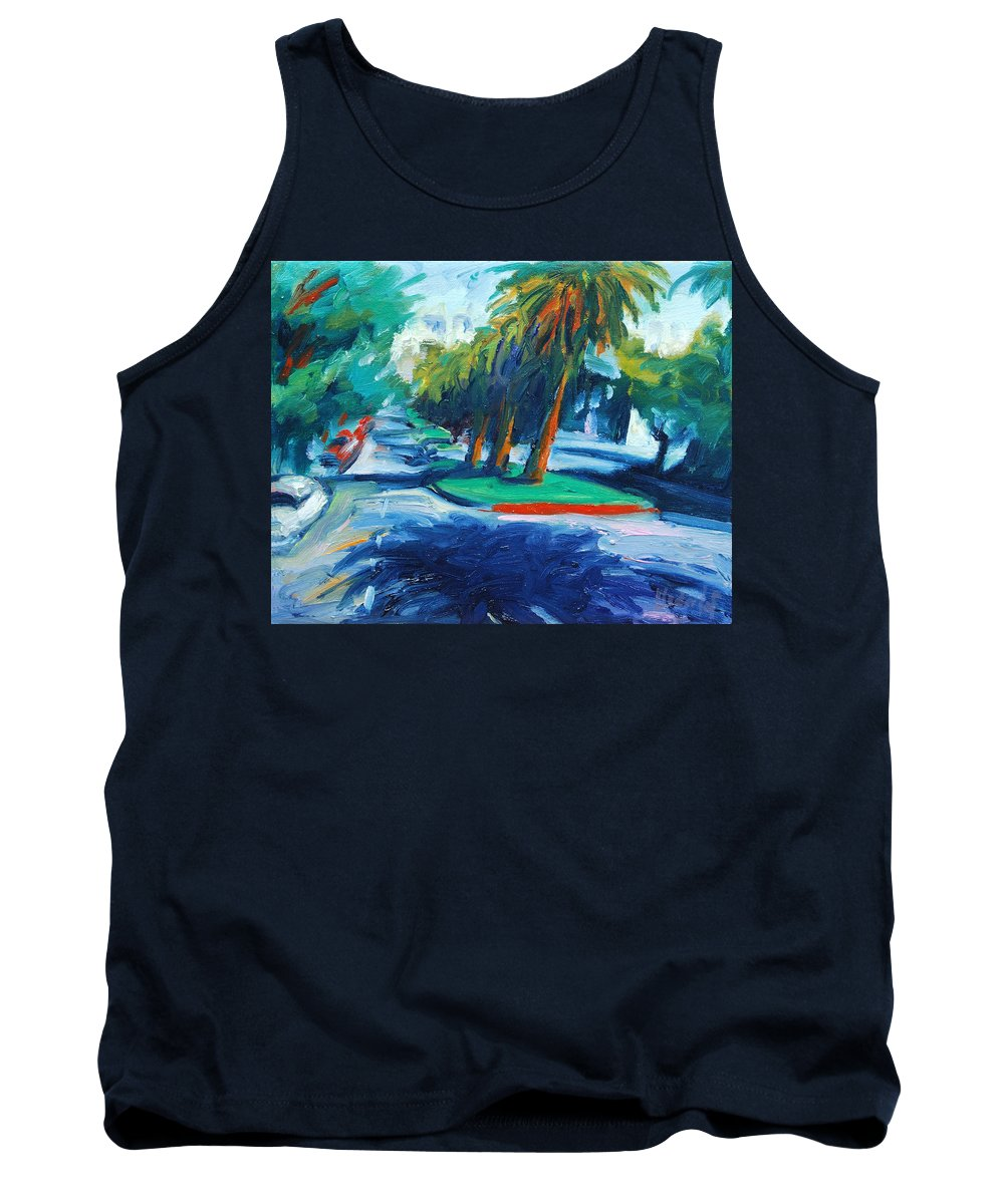 San Francisco Tank Top featuring the painting Downhill by Rick Nederlof