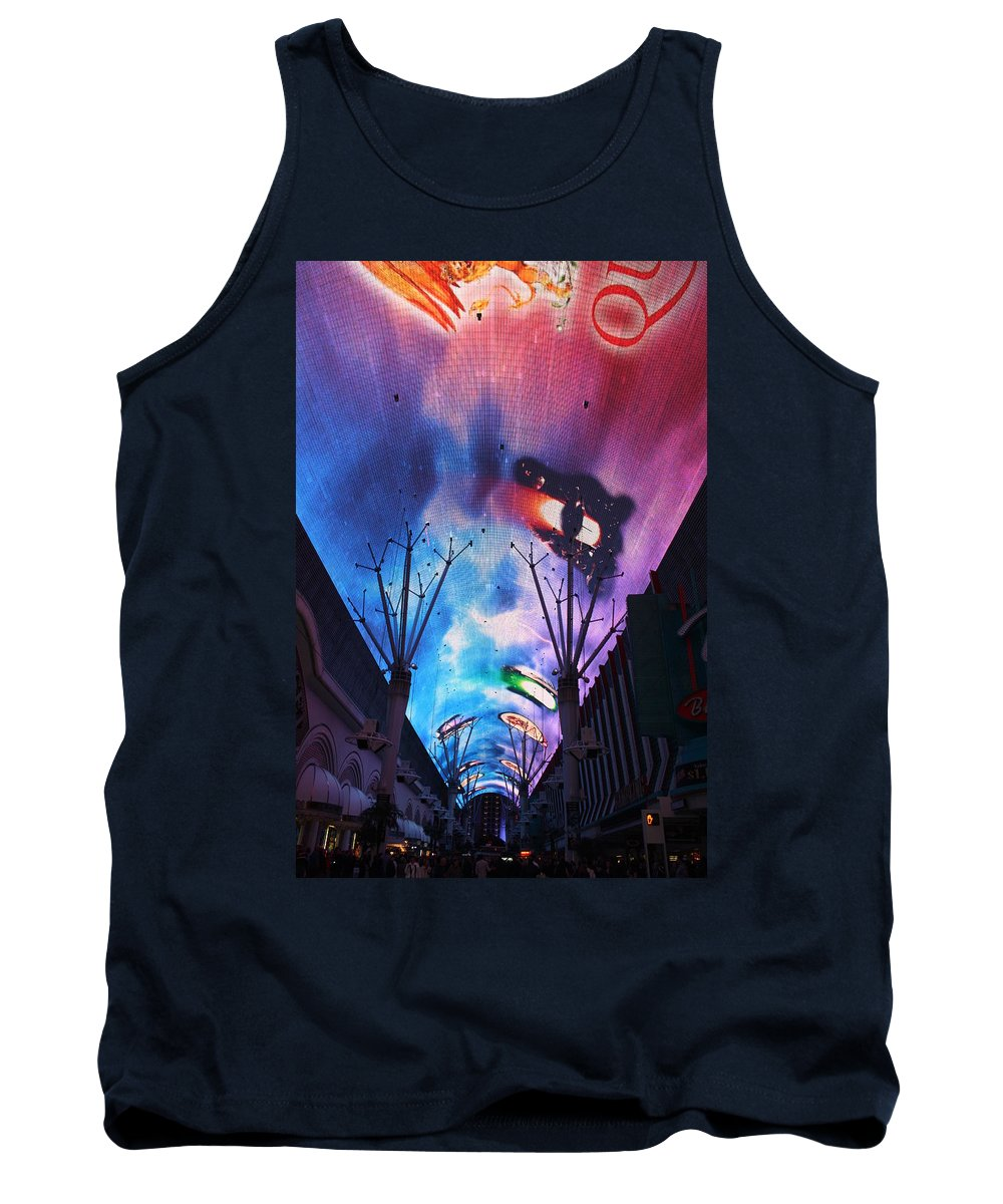 Las Vegas Tank Top featuring the photograph Downtown Vegas Night by John W Smith III