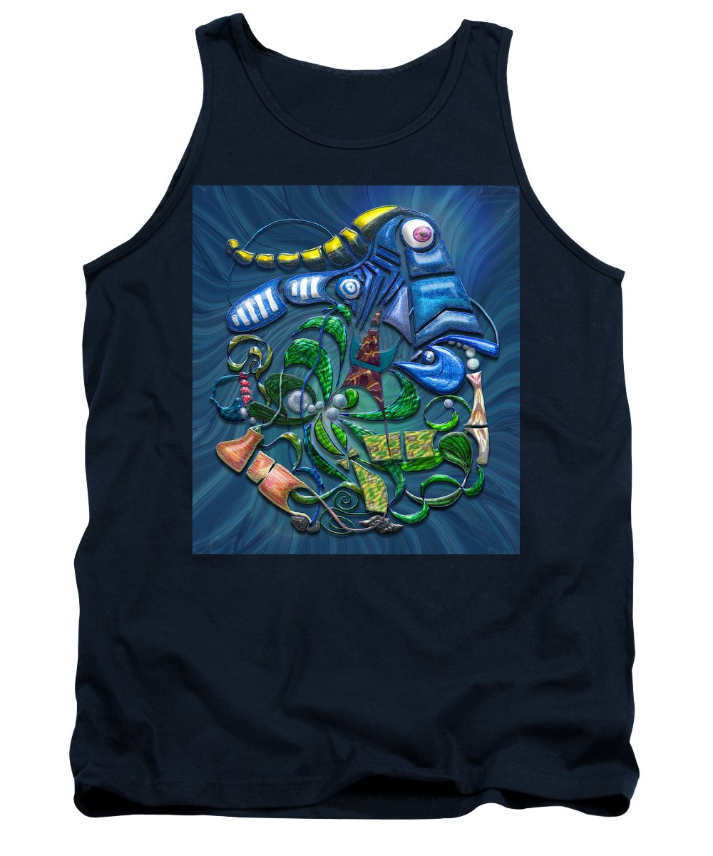 Blue Tank Top featuring the digital art Dreaming With The Fishes by Mark Sellers
