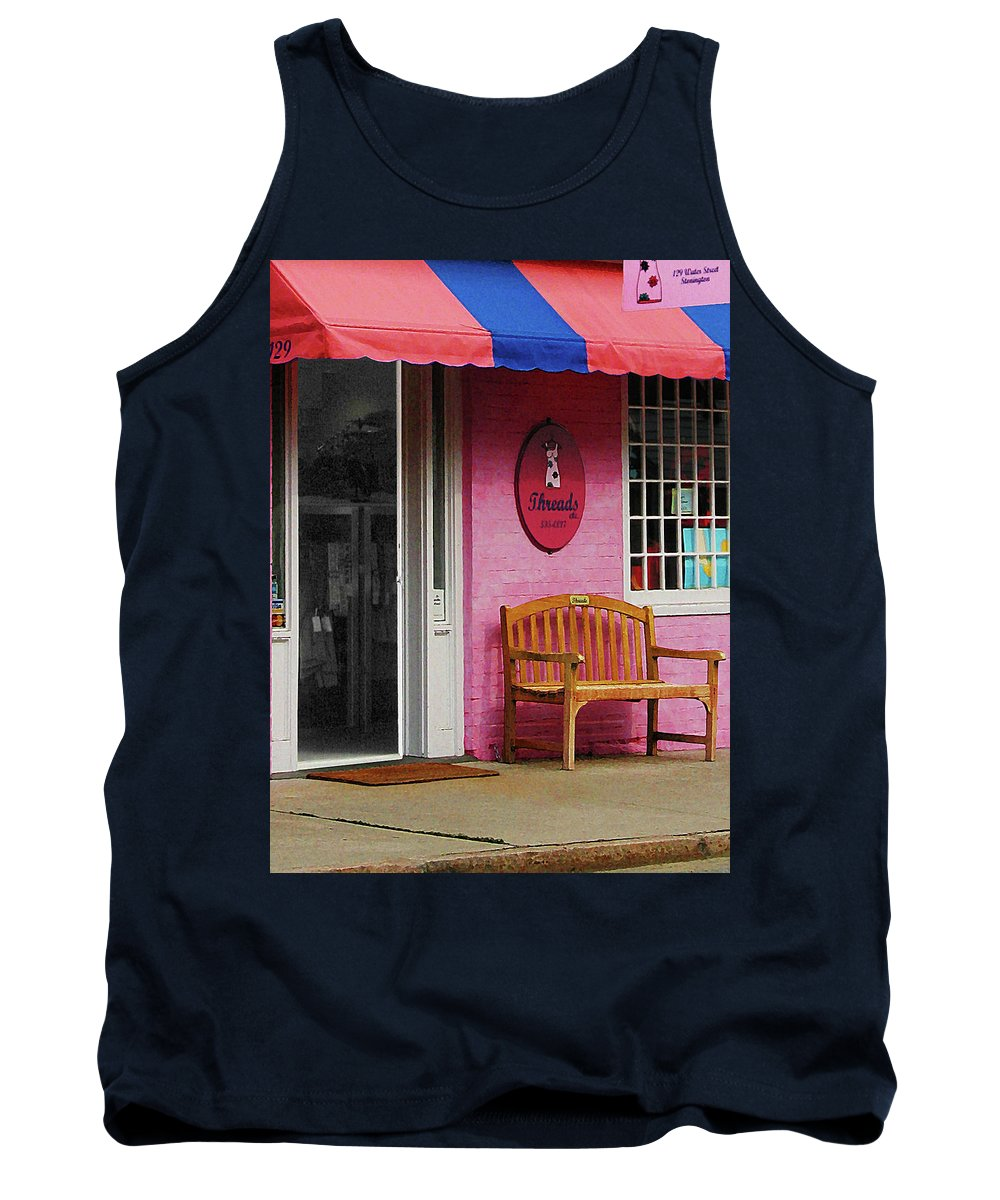 Awning Tank Top featuring the photograph Dress Shop With Orange And Blue Awning by Susan Savad