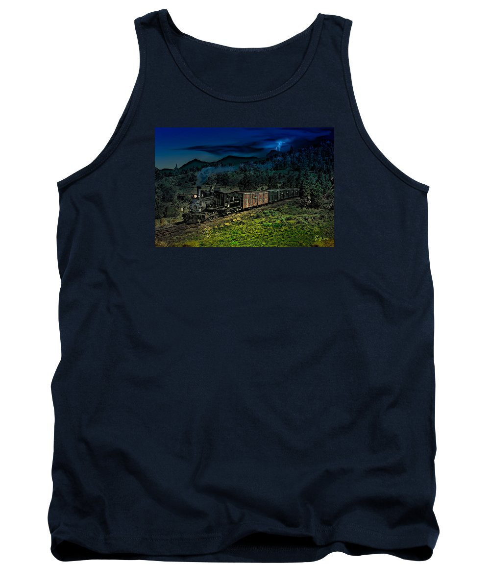 Trains Tank Top featuring the digital art Drifting Down To Antonitio by J Griff Griffin