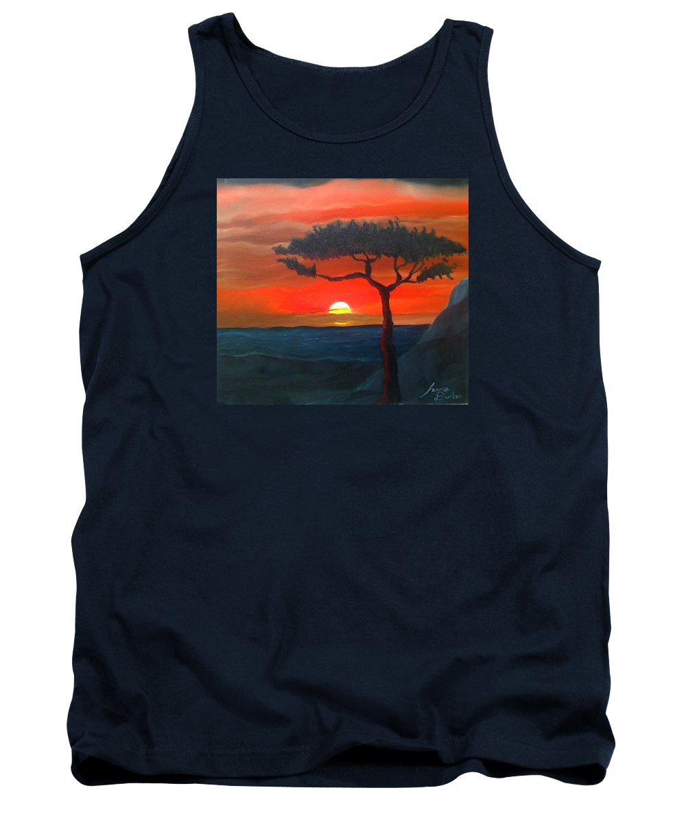 Africa! Tank Top featuring the painting East African Sunset by Dunbar's Modern Art