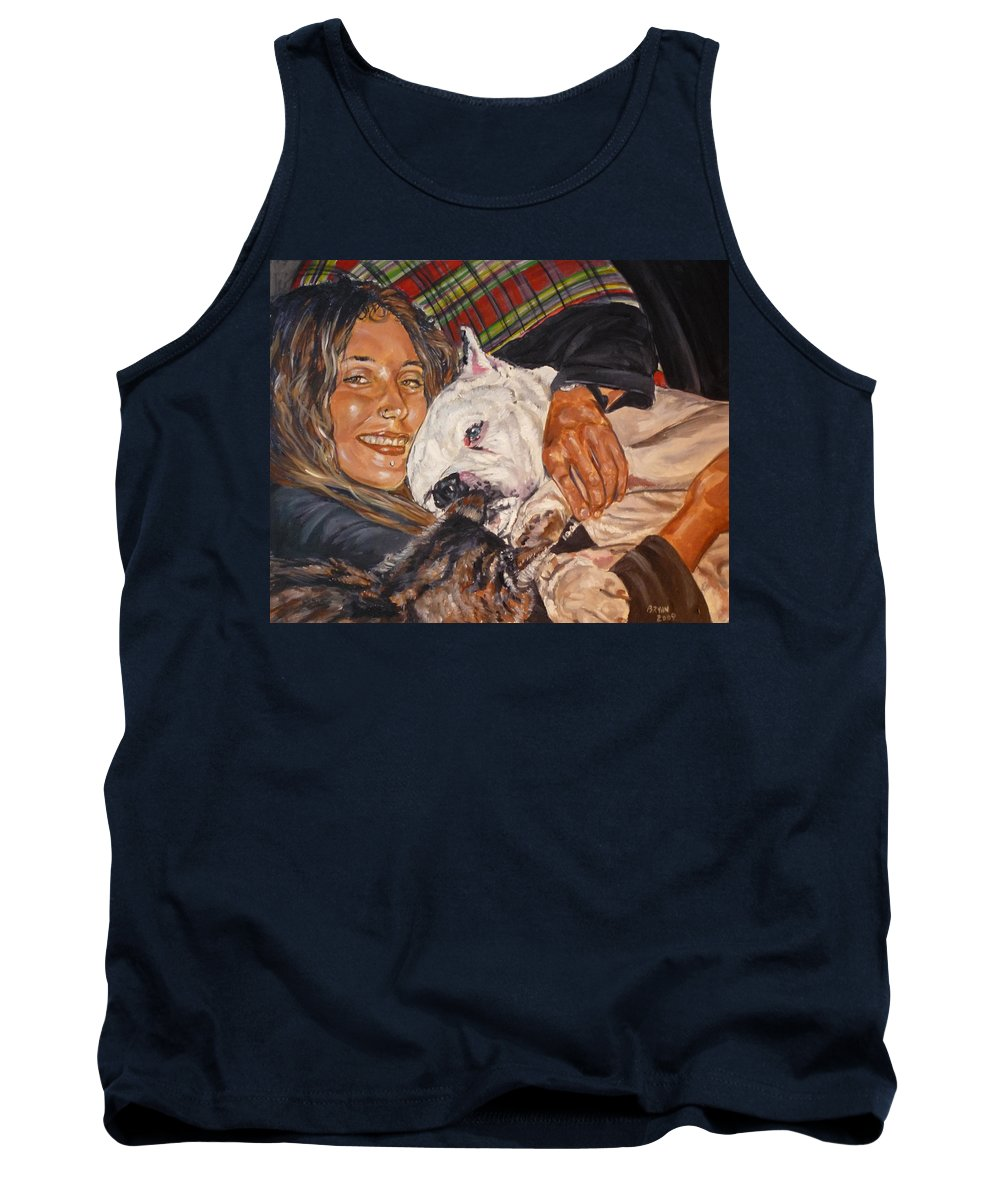 Pet Tank Top featuring the painting Elvis And Friend by Bryan Bustard