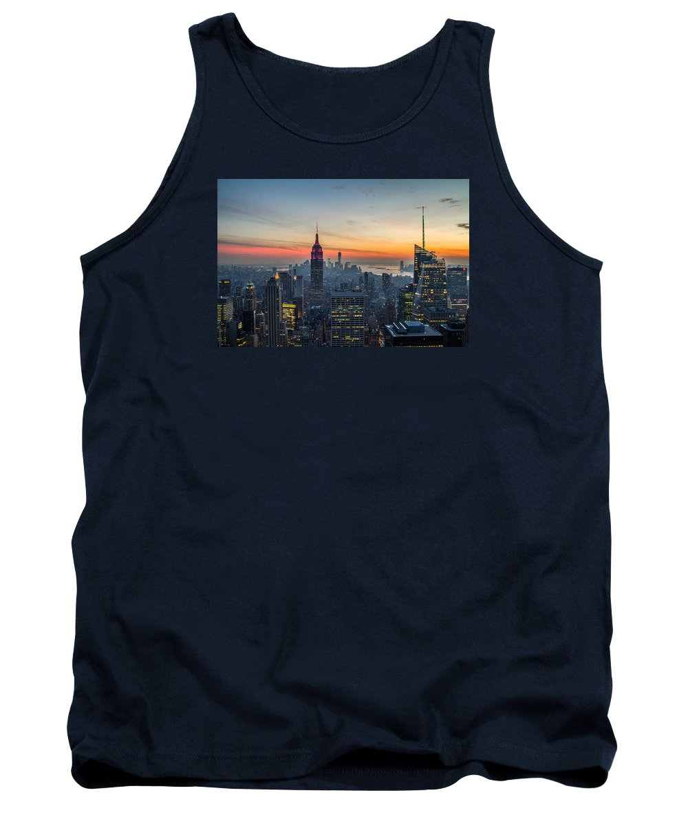 Nyc Tank Top featuring the photograph Empire State Sunset by Robert J Caputo