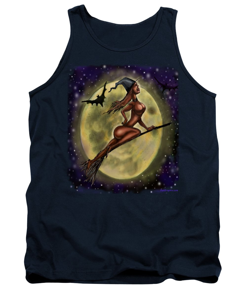 Halloween Tank Top featuring the digital art Enchanting Halloween Witch by Kevin Middleton