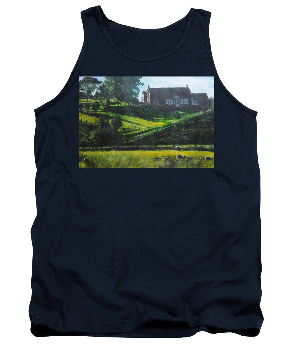 Landscape Tank Top featuring the painting Evening In North Wales by Harry Robertson