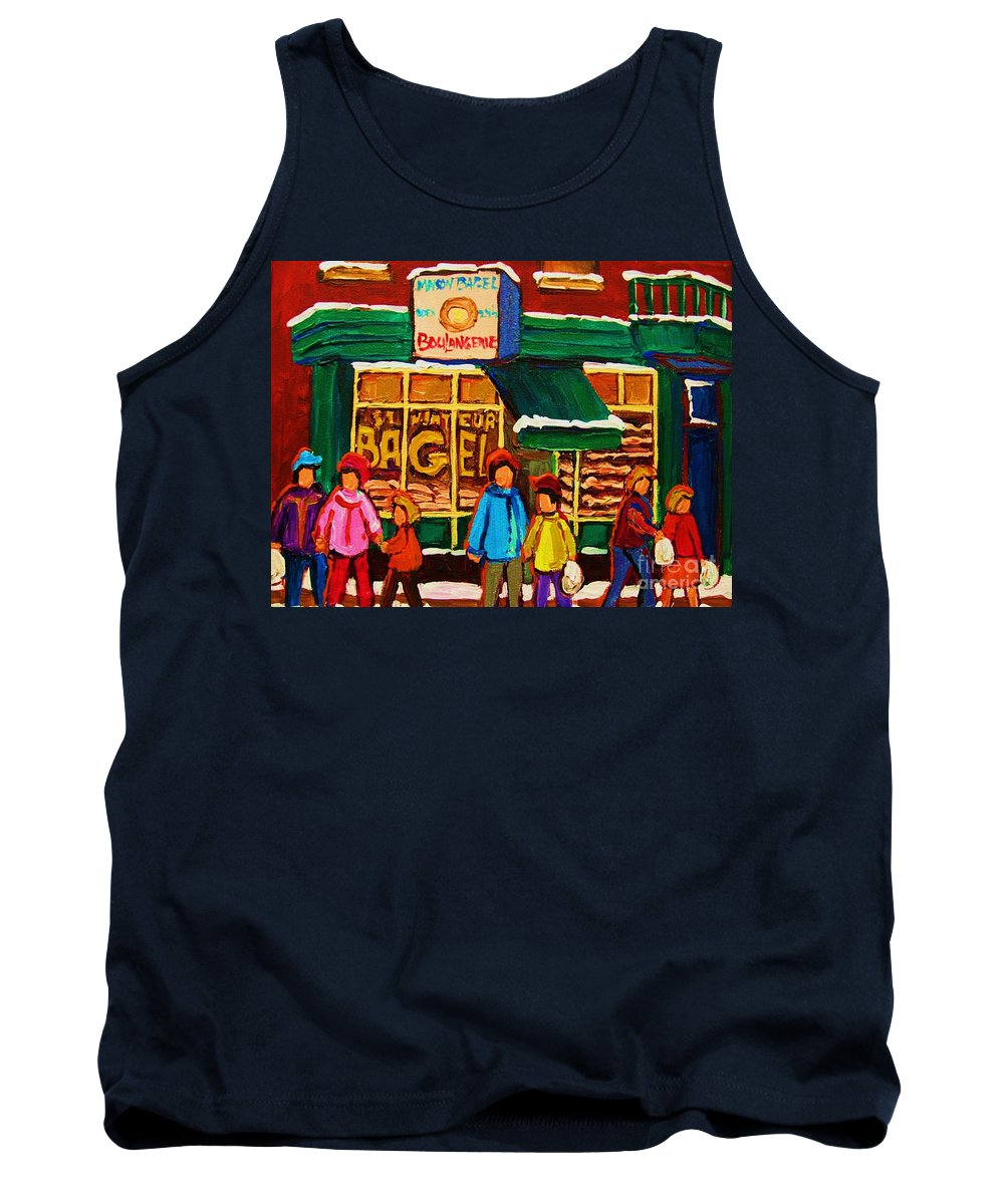 St.viateur Bagel Tank Top featuring the painting Family Fun At St. Viateur Bagel by Carole Spandau